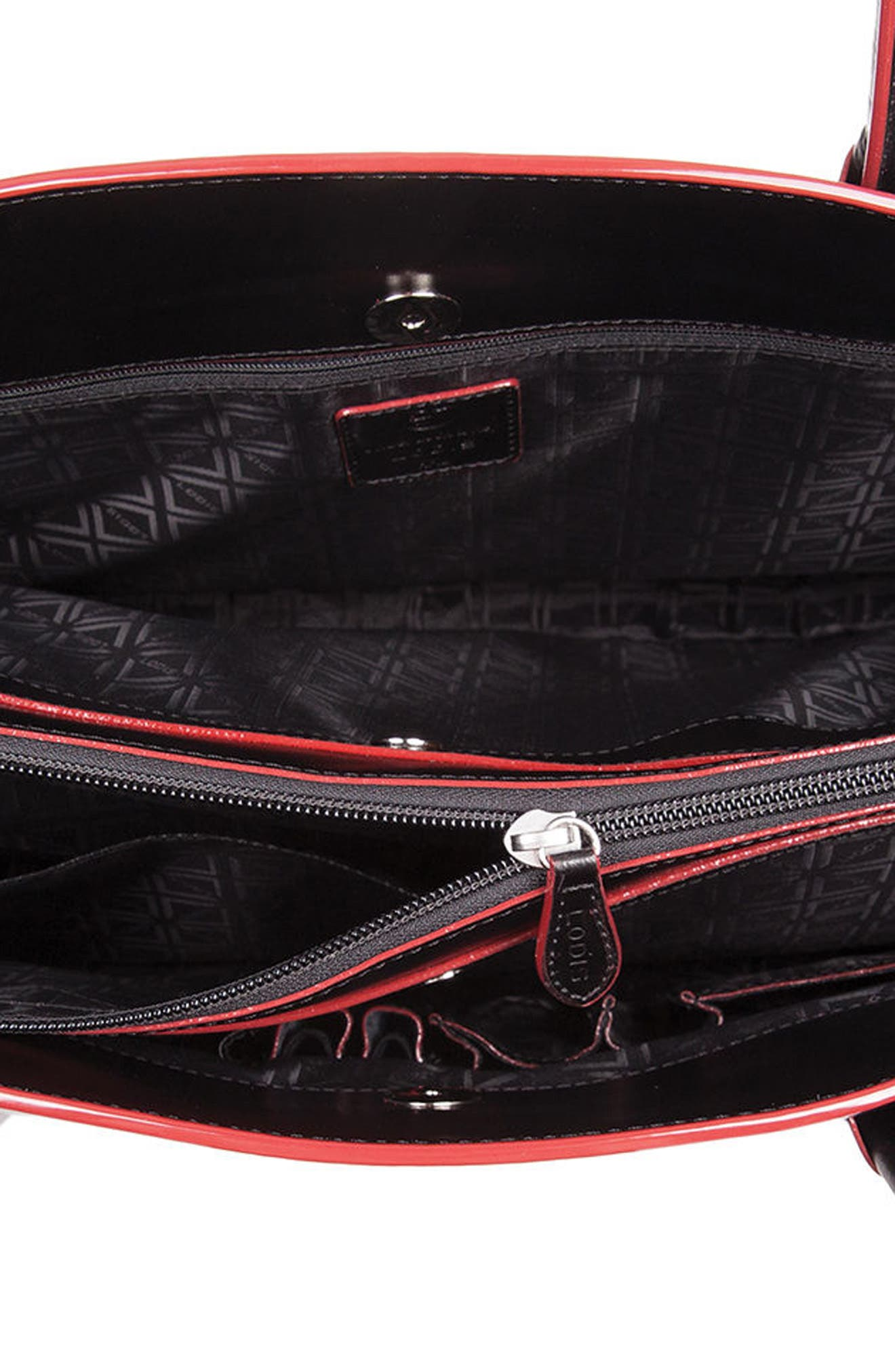 Audrey Under Lock & Key - Milano RFID Leather Tote,                             Alternate thumbnail 3, color,                             BLACK