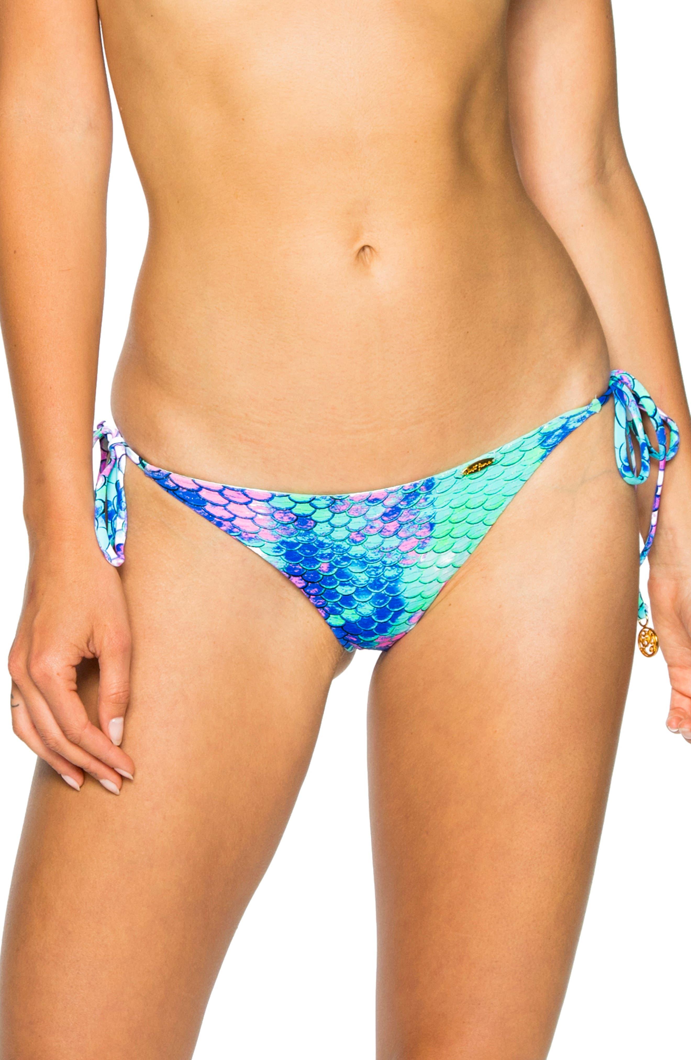 LULI FAMA Reversible Brazilian Side Tie Bikini Bottoms in Blue Multi