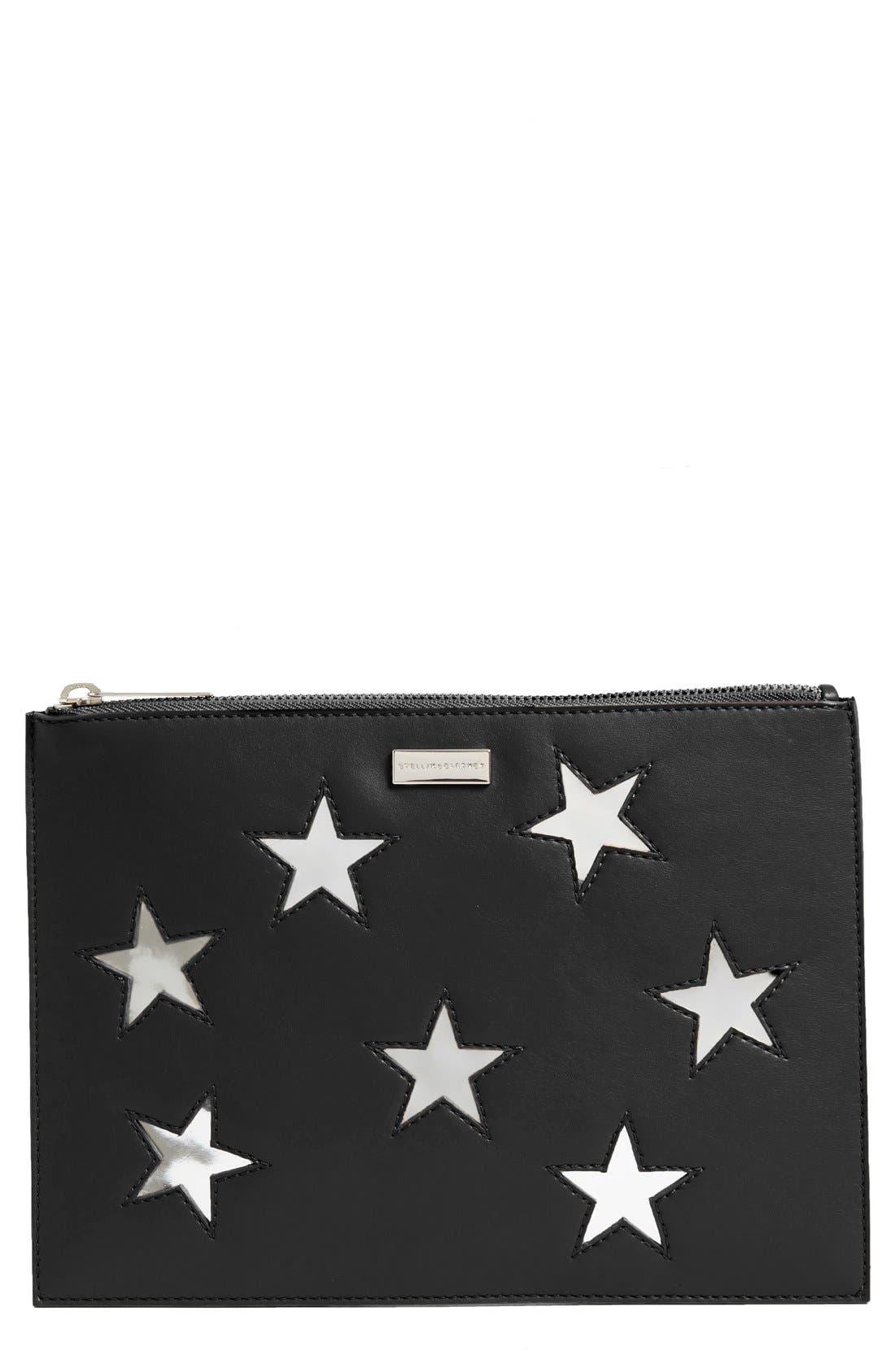 Lamé Stars Faux Leather Zip Pouch,                         Main,                         color, 001