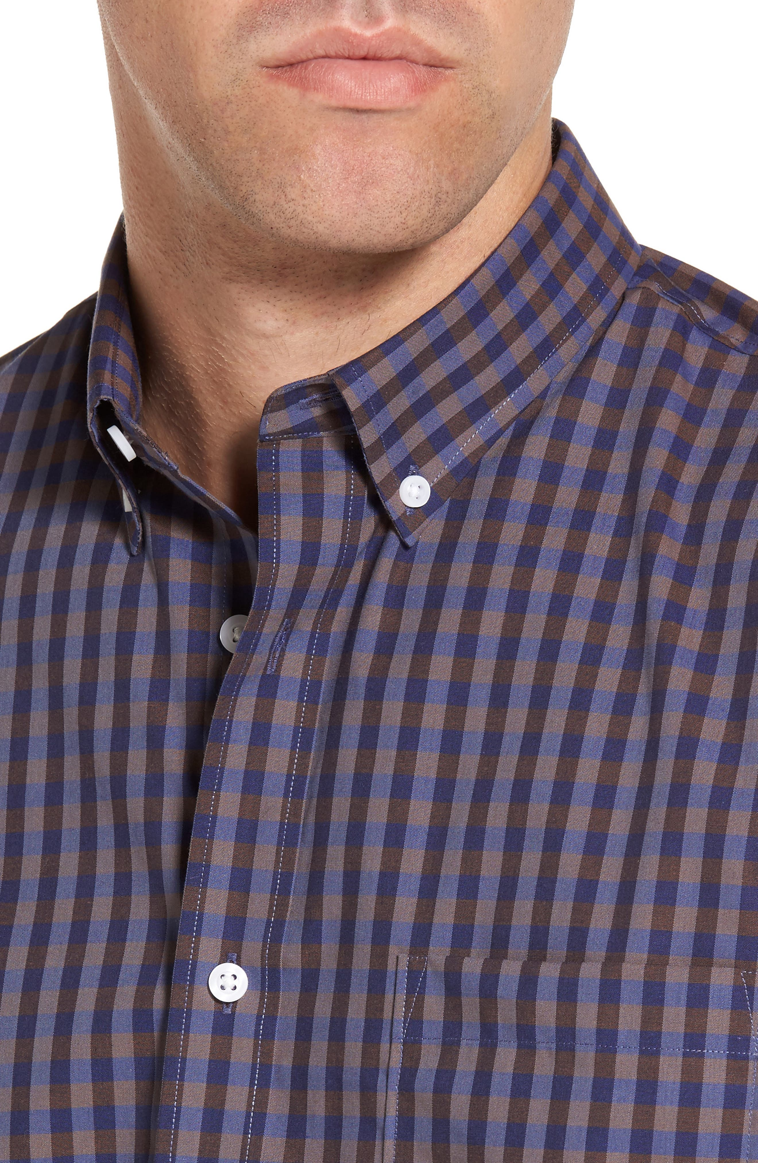 Regular Fit Non-Iron Check Sport Shirt,                             Alternate thumbnail 4, color,