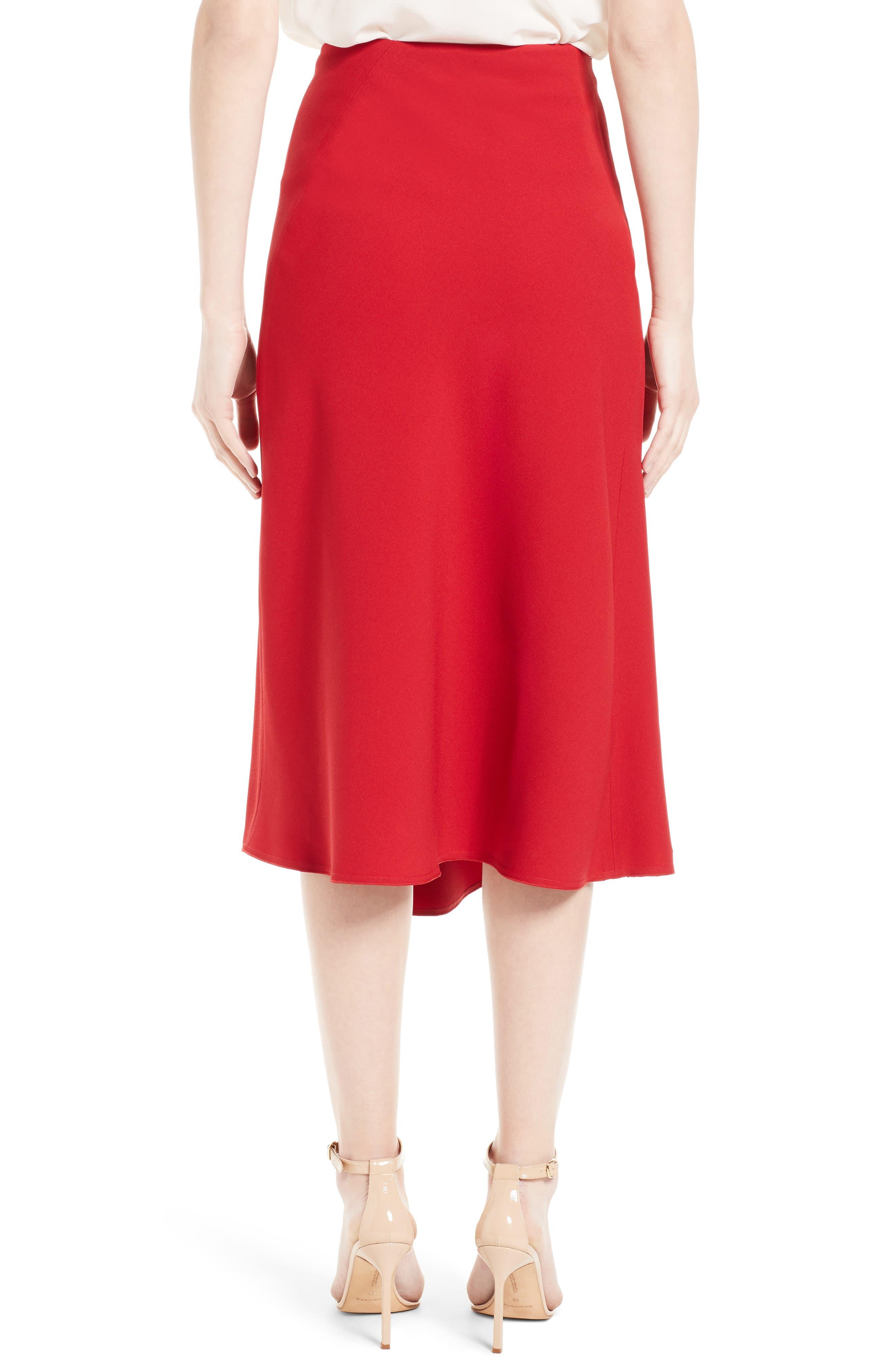 Satin Crepe Godet Skirt,                             Alternate thumbnail 2, color,                             600