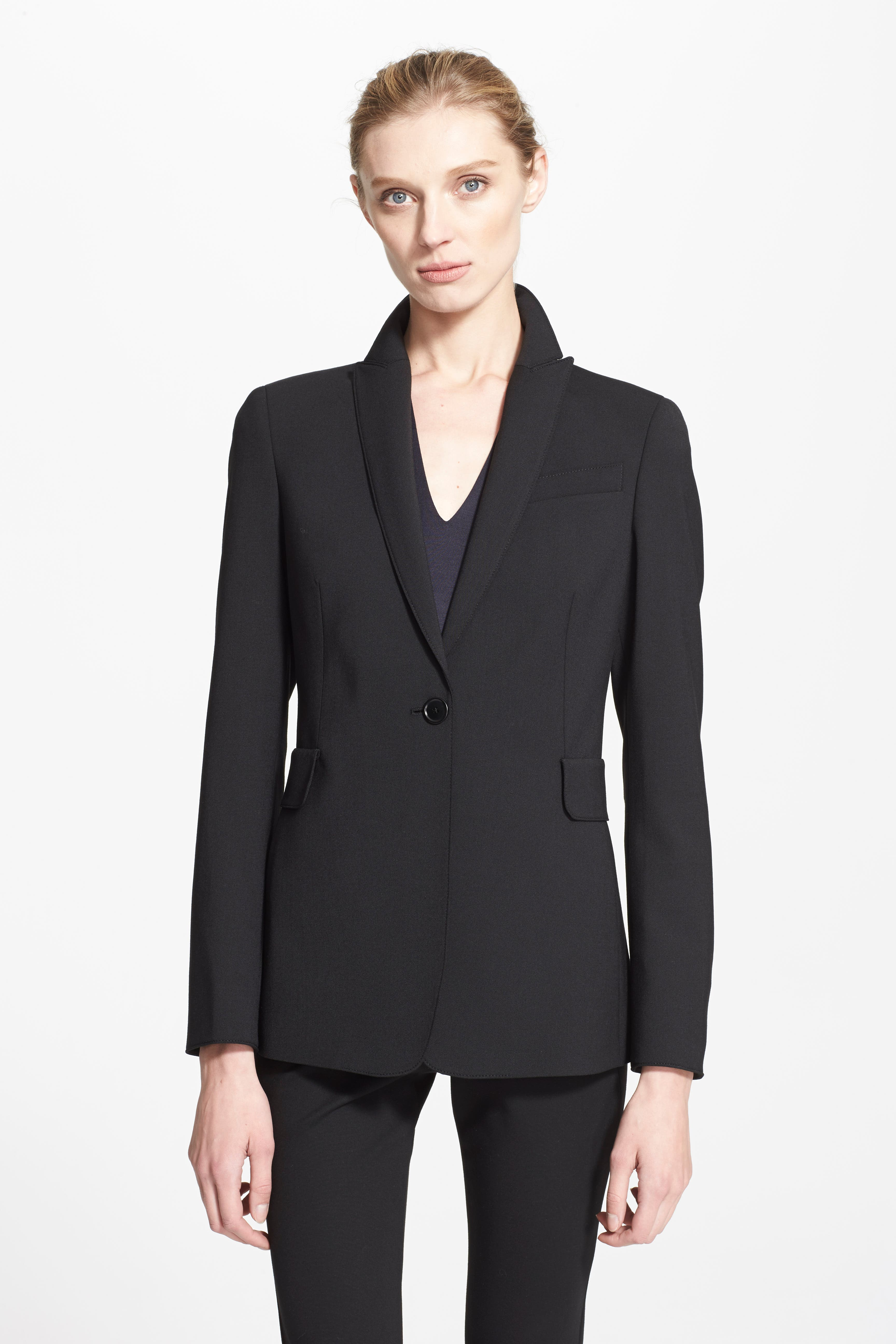 Techno One-Button Jacket,                             Alternate thumbnail 8, color,                             NOIR