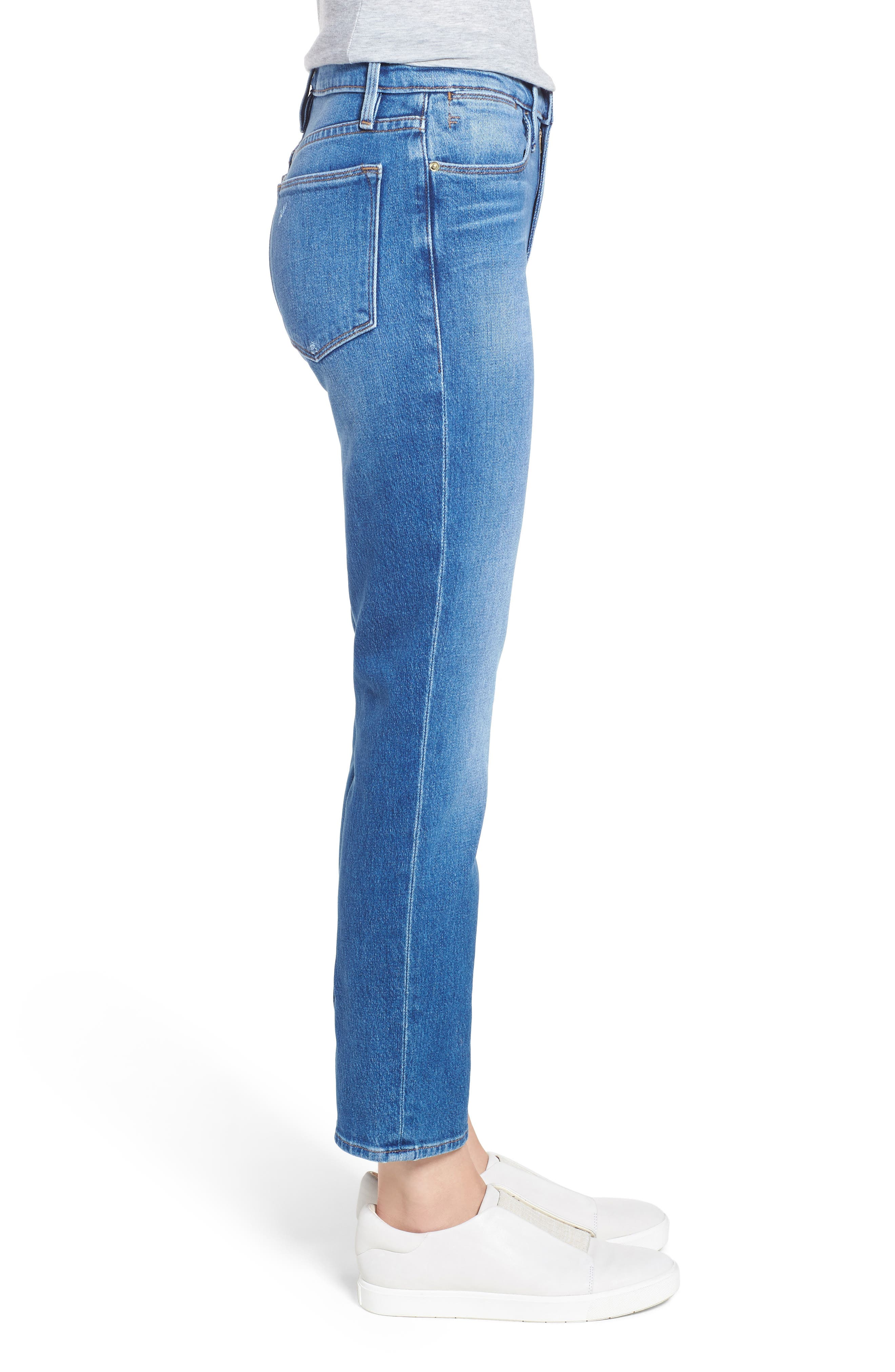 Le High Straight Leg Jeans,                             Alternate thumbnail 3, color,                             420