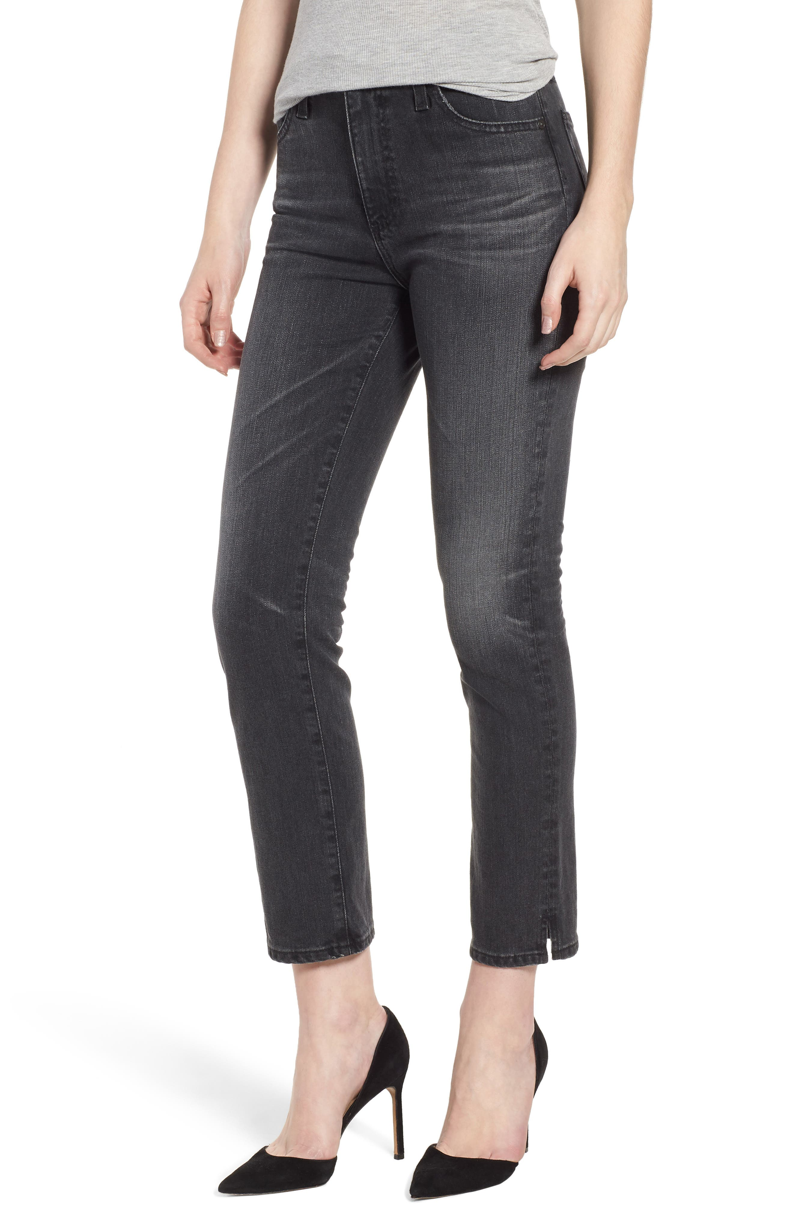 The Isabelle High Waist Ankle Straight Leg Jeans,                         Main,                         color, 019