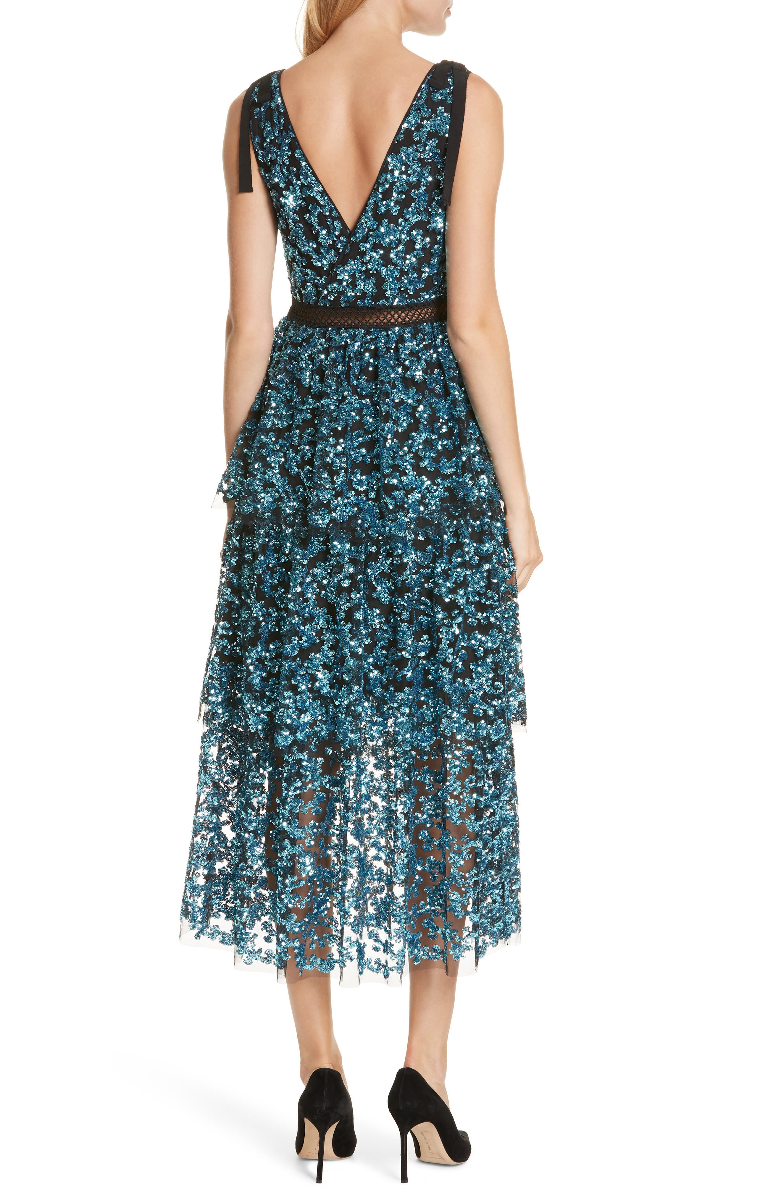 Tiered Sequined Midi Dress,                             Alternate thumbnail 2, color,                             BLUE