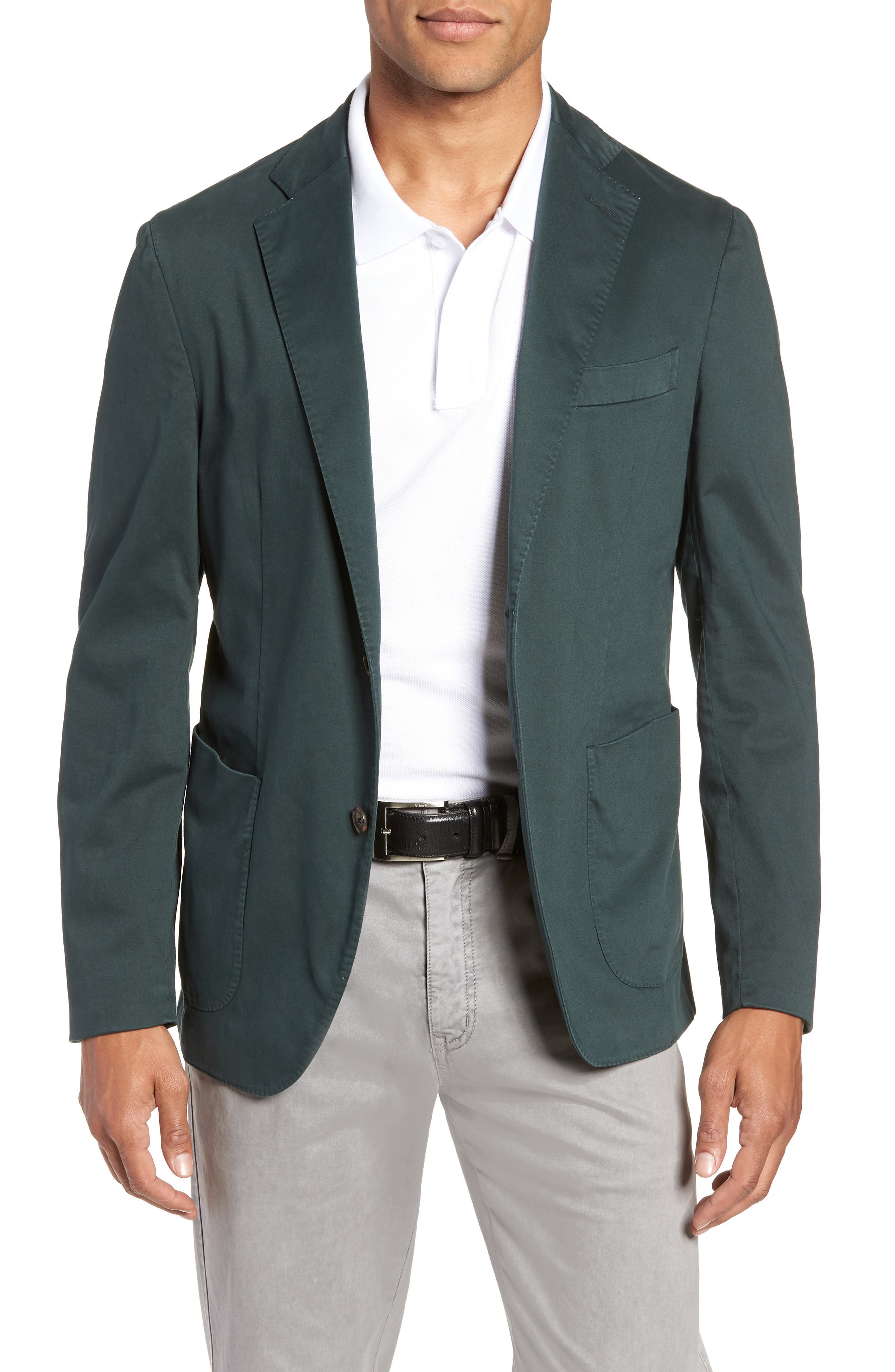 Trim Fit Stretch Cotton Blazer,                             Main thumbnail 1, color,                             GREEN