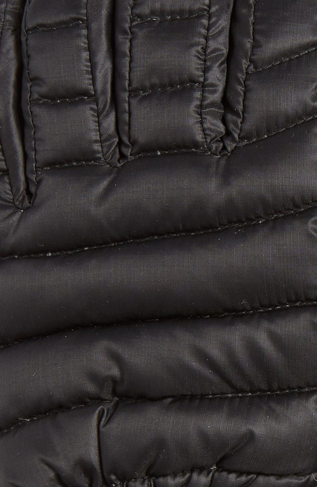 Lightweight Quilted Down Gloves,                             Alternate thumbnail 2, color,                             BLACK