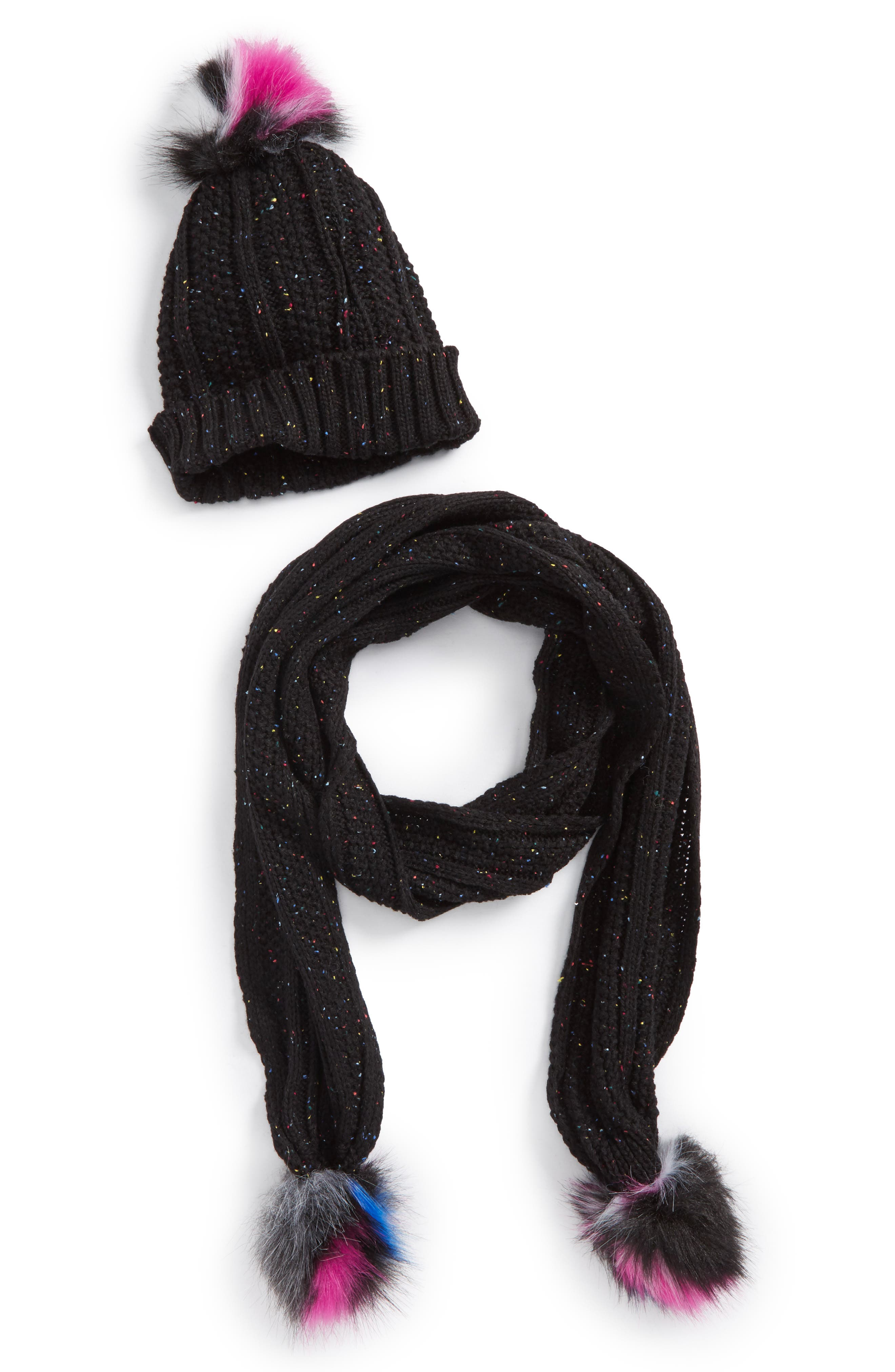 NYC UNDERGROUND,                             Faux Fur Pompom Knit Beanie & Scarf,                             Main thumbnail 1, color,                             003