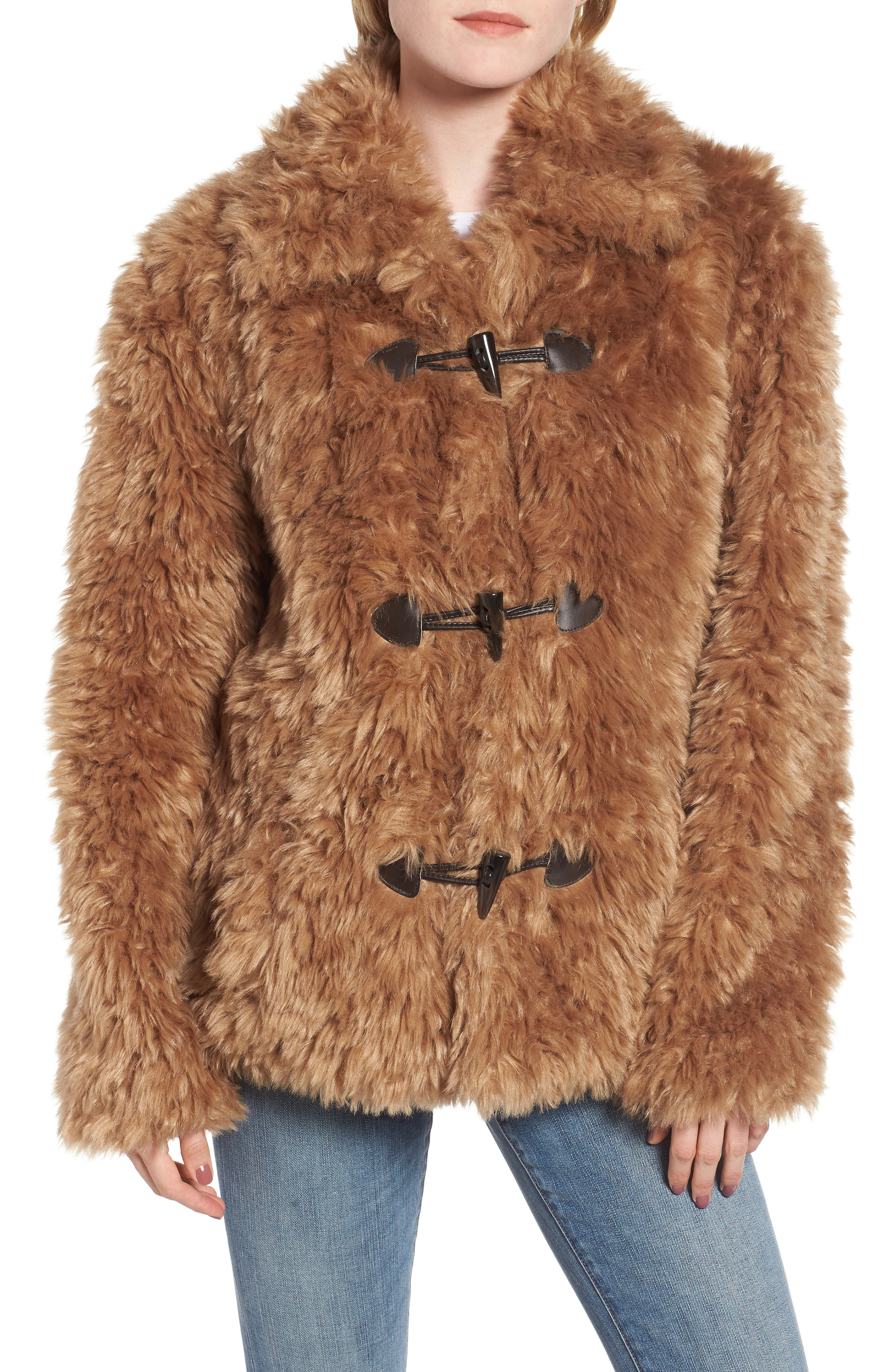 Faux Fur Teddy Coat,                             Alternate thumbnail 4, color,                             260