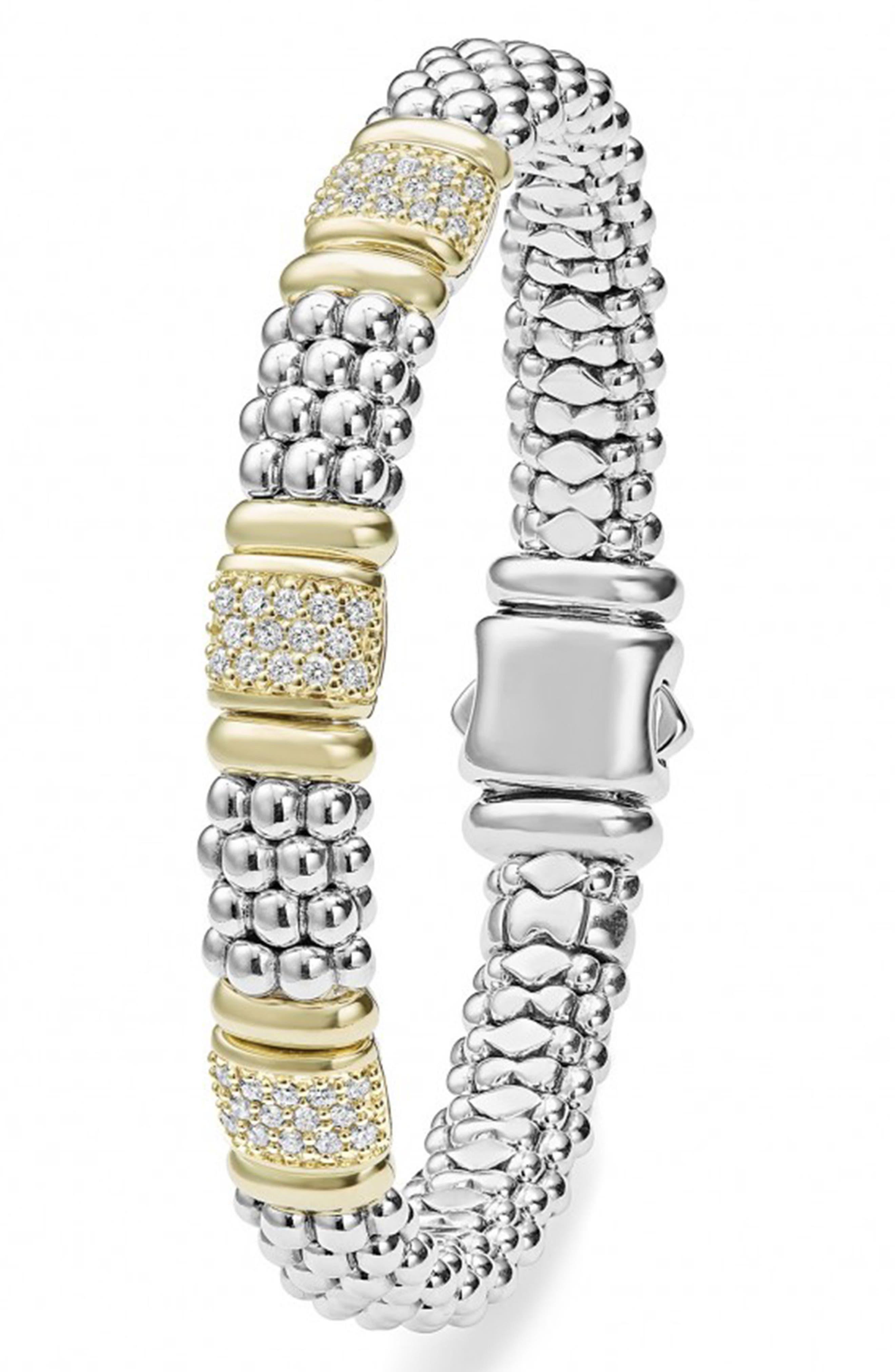 'Caviar' Diamond Station Bracelet,                             Alternate thumbnail 5, color,                             SILVER/ GOLD
