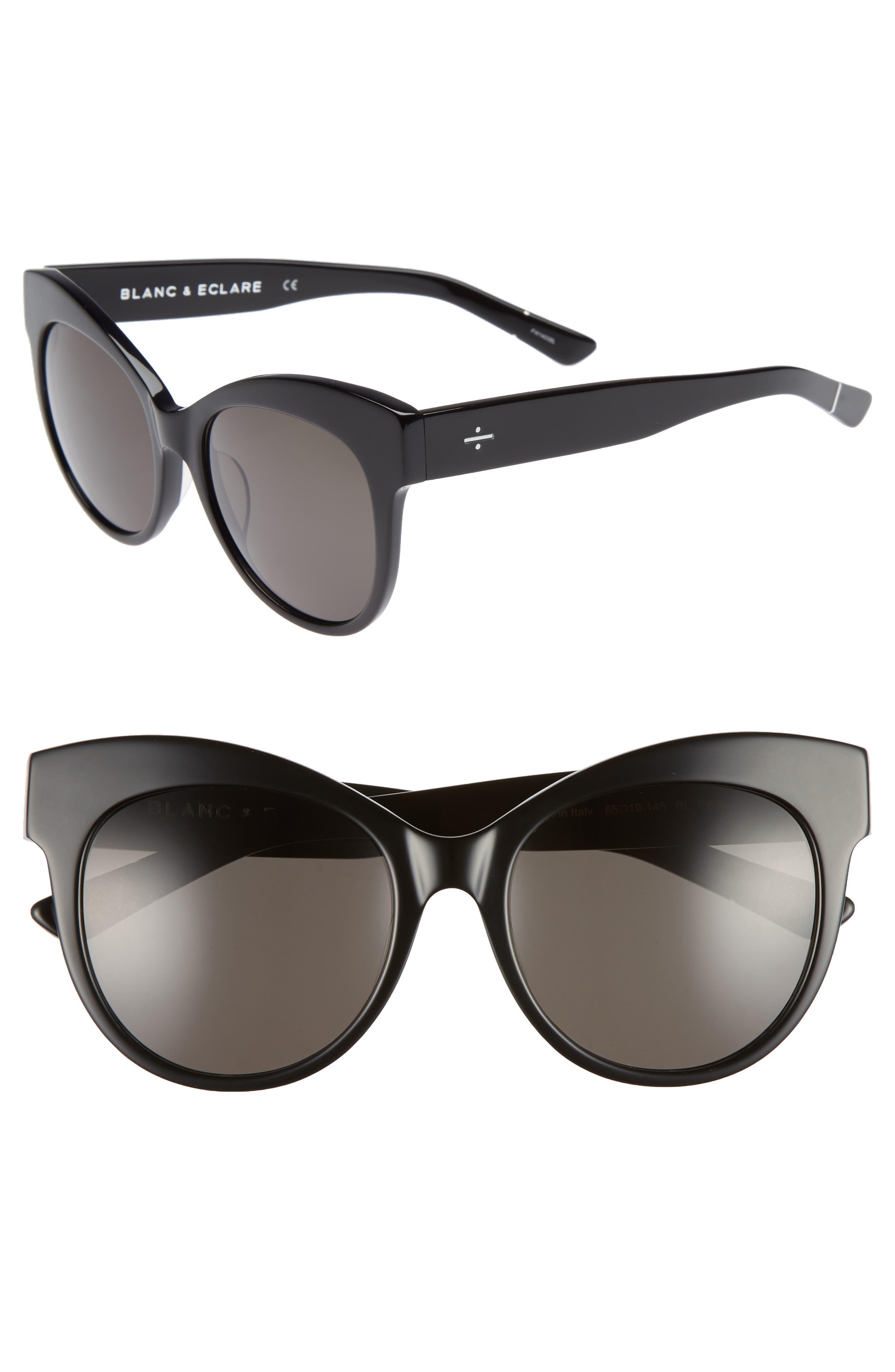 BLANC & ECLARE Paris 55mm Polarized Cat Eye Sunglasses,                             Main thumbnail 1, color,                             001
