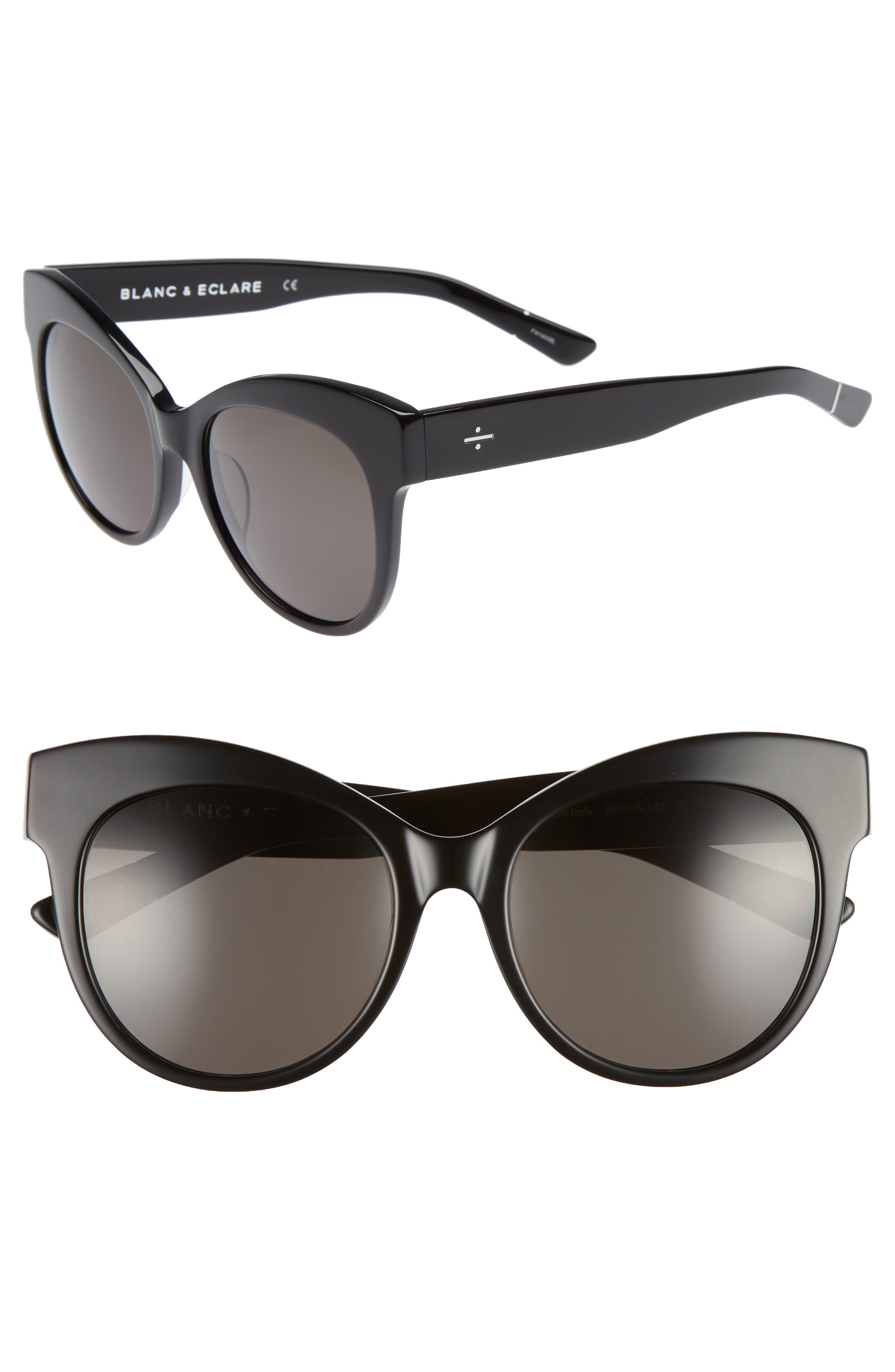 BLANC & ECLARE Paris 55mm Polarized Cat Eye Sunglasses,                         Main,                         color, 001