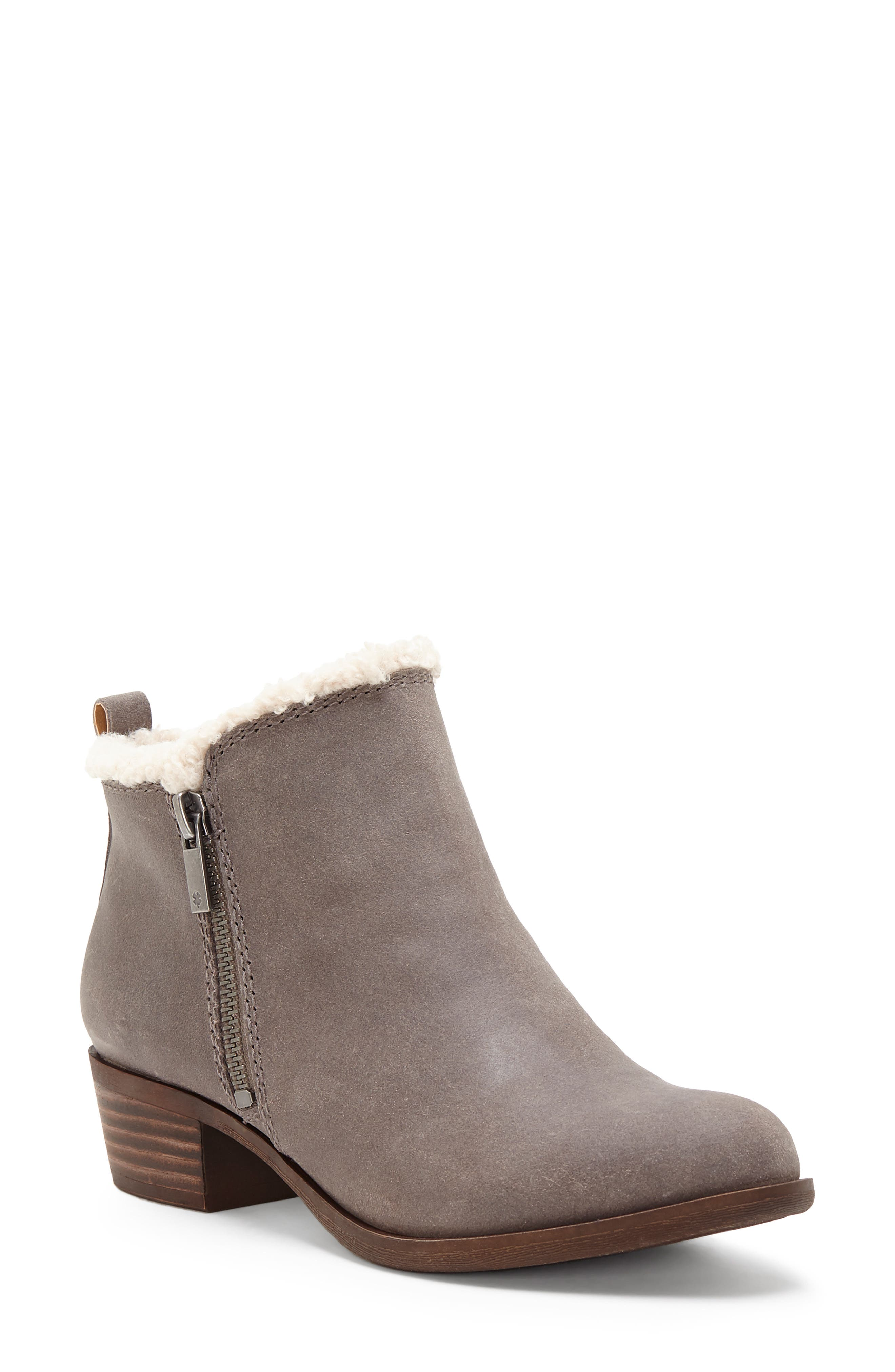 Basel Waterproof Faux Fur Lining Bootie, Main, color, TITANIUM LEATHER