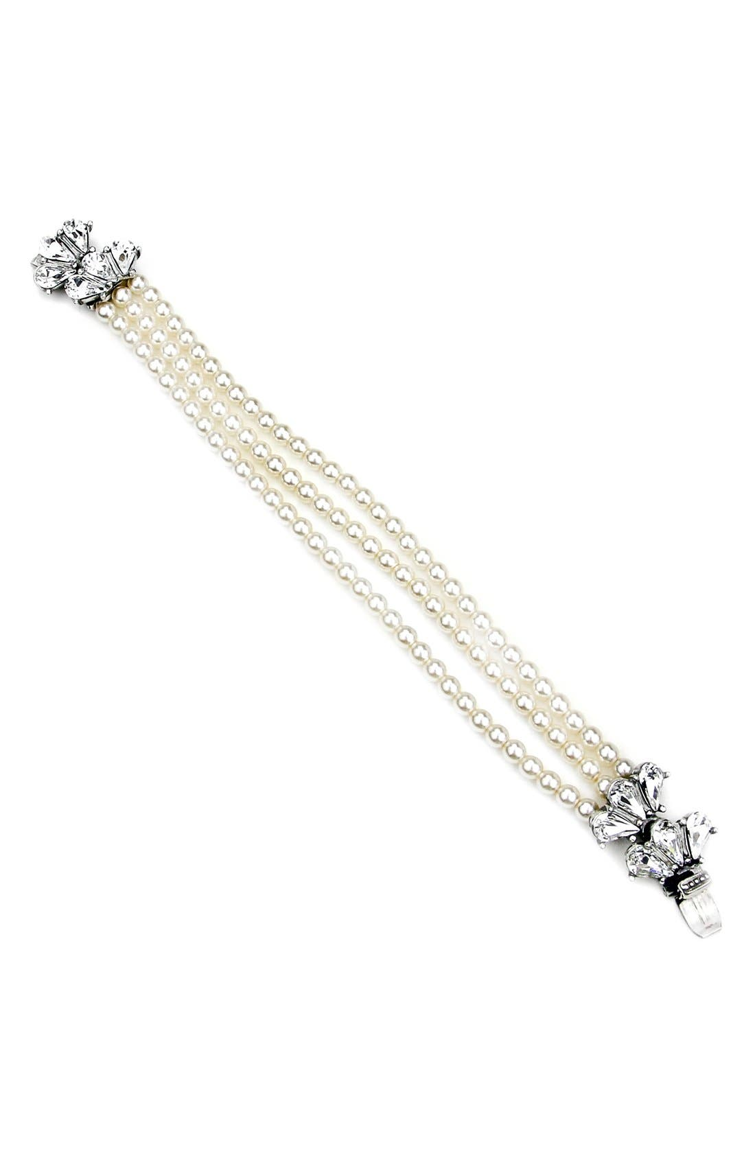 'Cascading Crystal' Glass Pearl Strand Bracelet,                         Main,                         color, IVORY