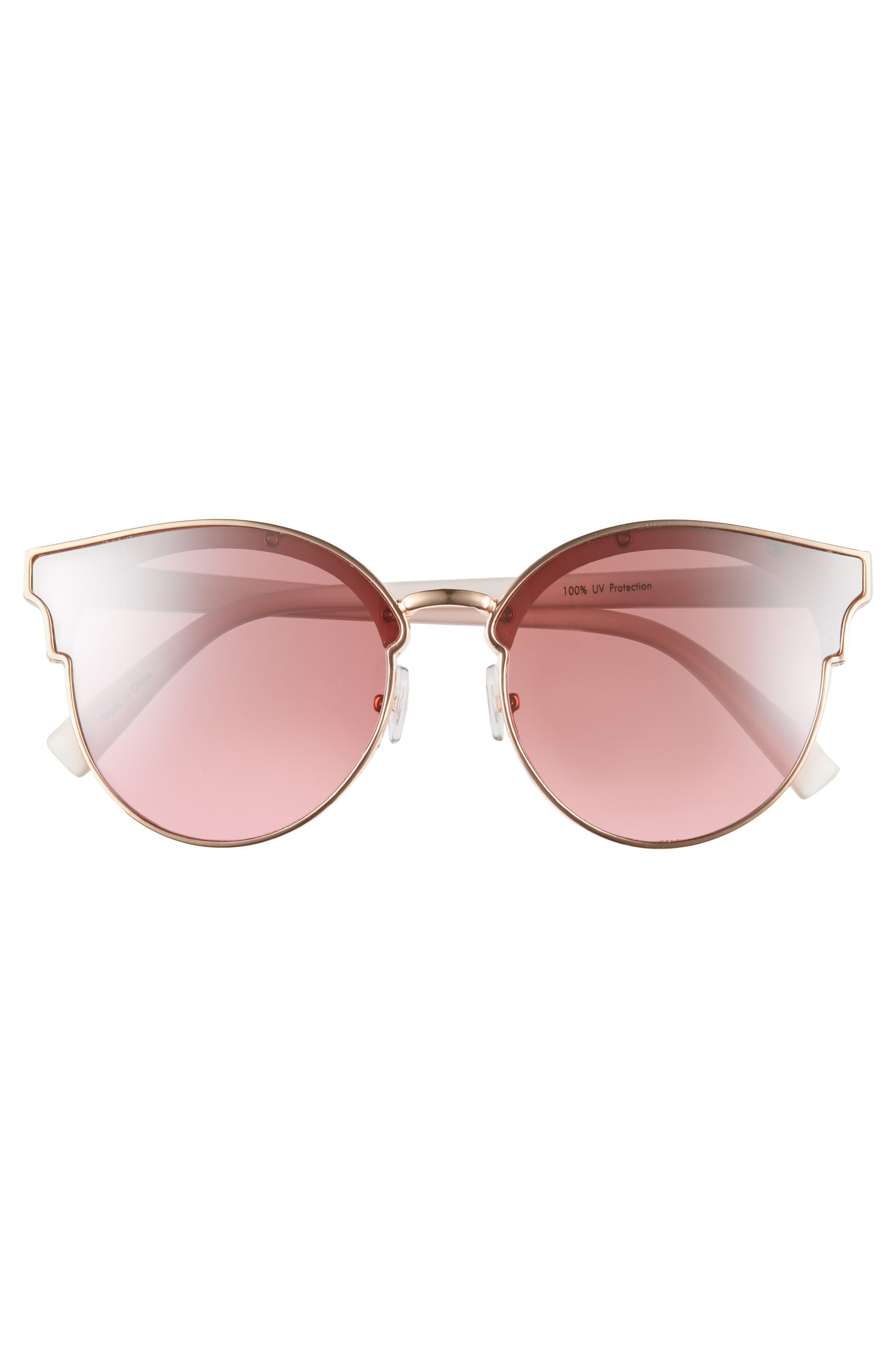 58mm Flat Cat Eye Sunglasses,                             Alternate thumbnail 3, color,