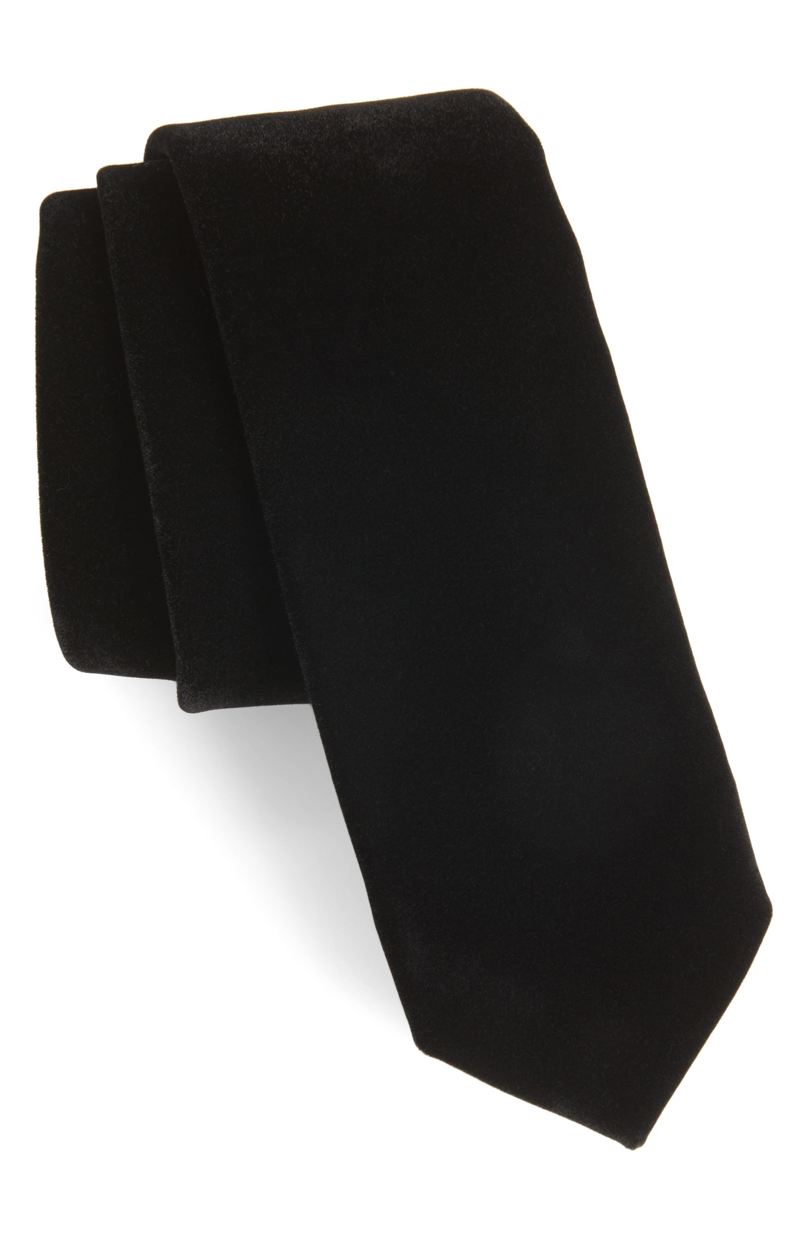 Velvet Skinny Tie, Main, color, 001