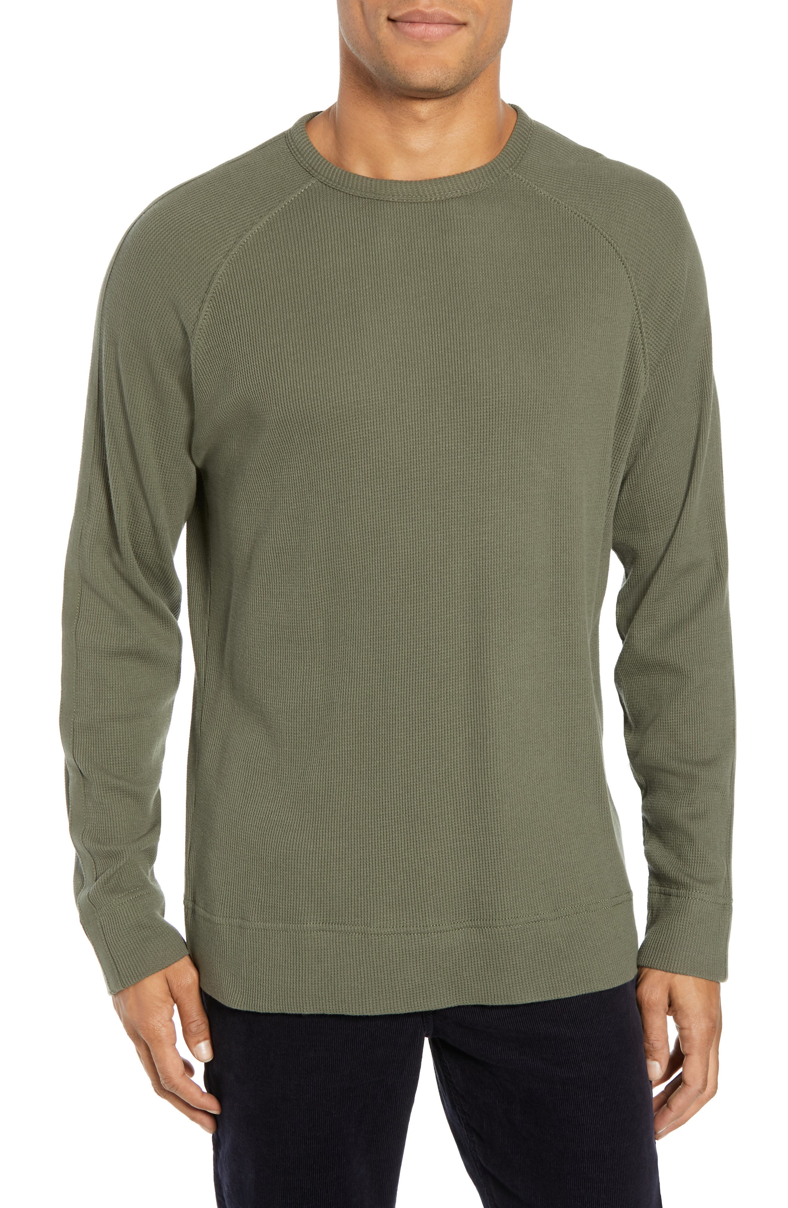 Waffle Knit Pullover,                         Main,                         color, INFANTRY GREEN
