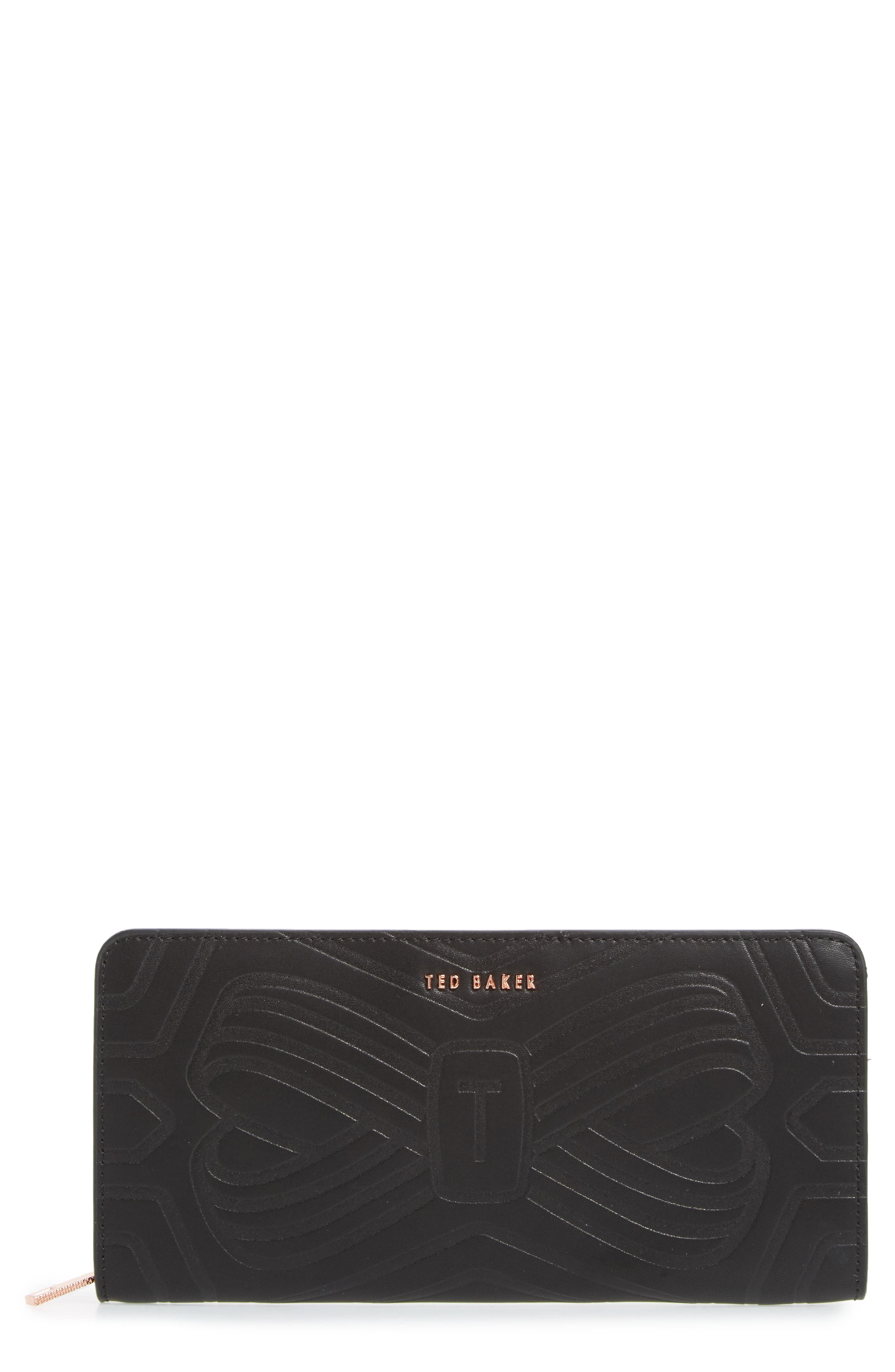 Mellvna Embossed Bow Leather Matinée Wallet,                         Main,                         color, 001