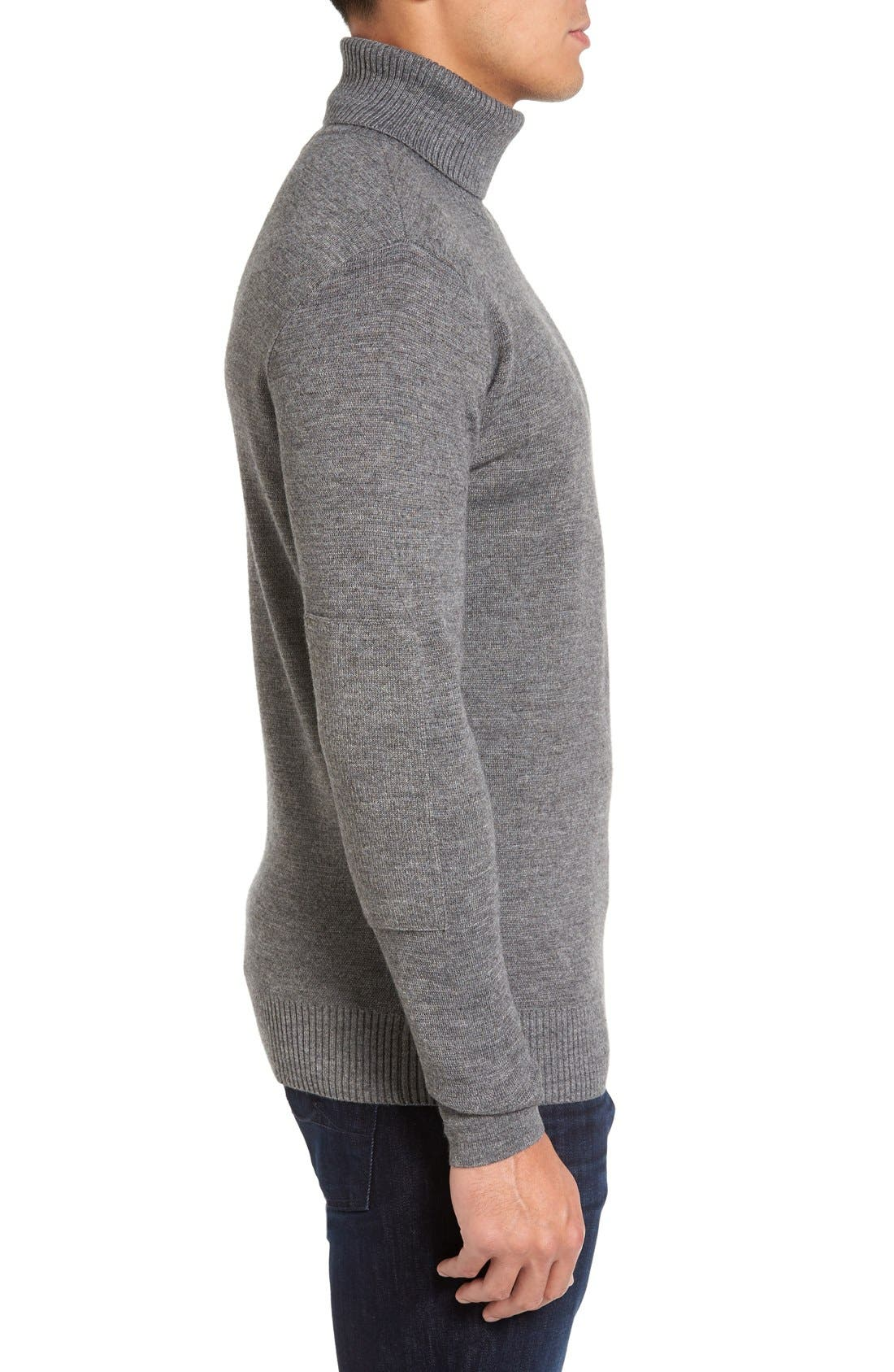 Merino Wool Blend Turtleneck Sweater,                             Alternate thumbnail 4, color,                             020