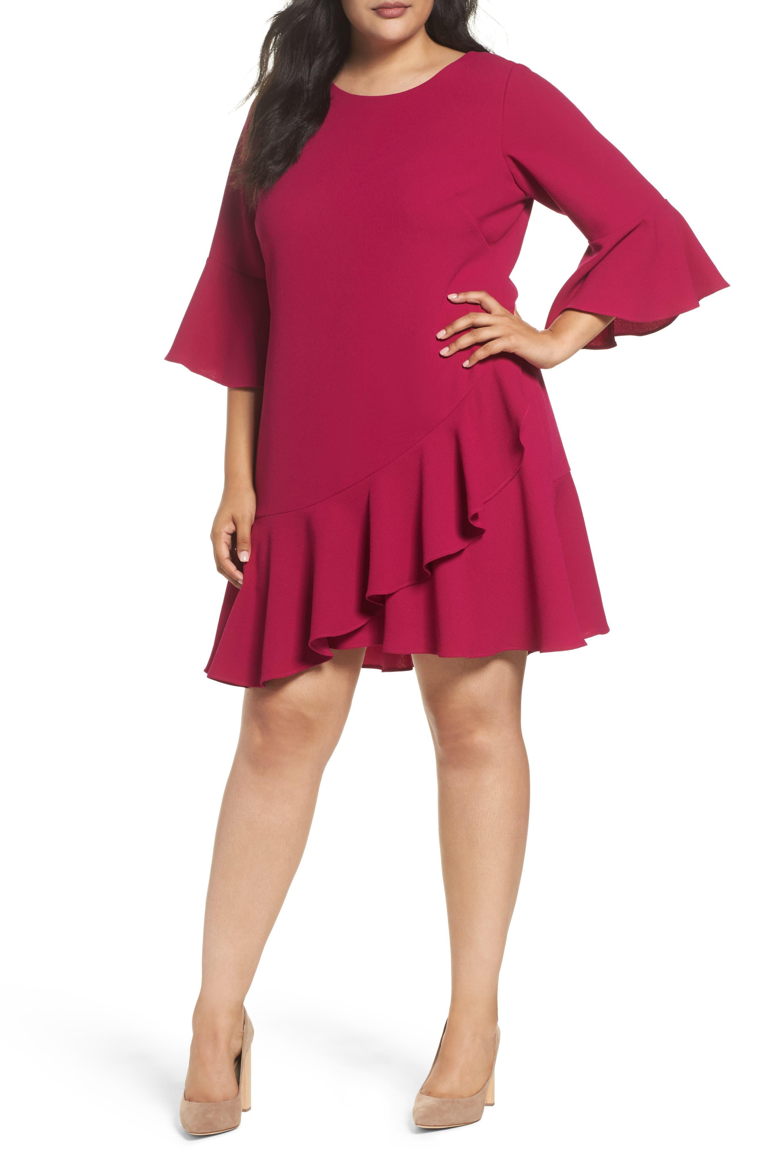 Ruffled Flounce A-Line Dress,                             Main thumbnail 1, color,                             678