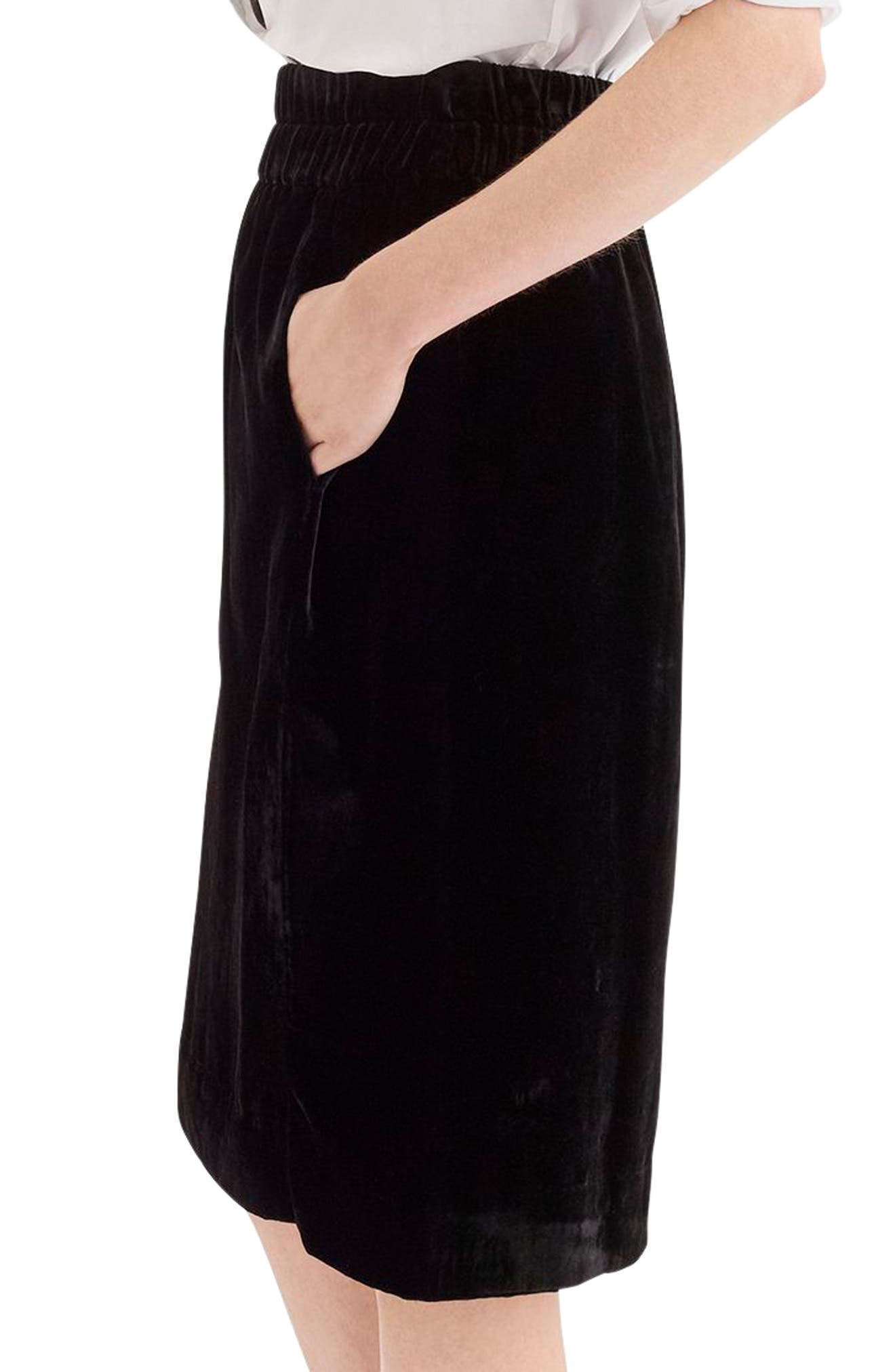 Pull-On Velvet Skirt,                             Alternate thumbnail 3, color,                             BLACK