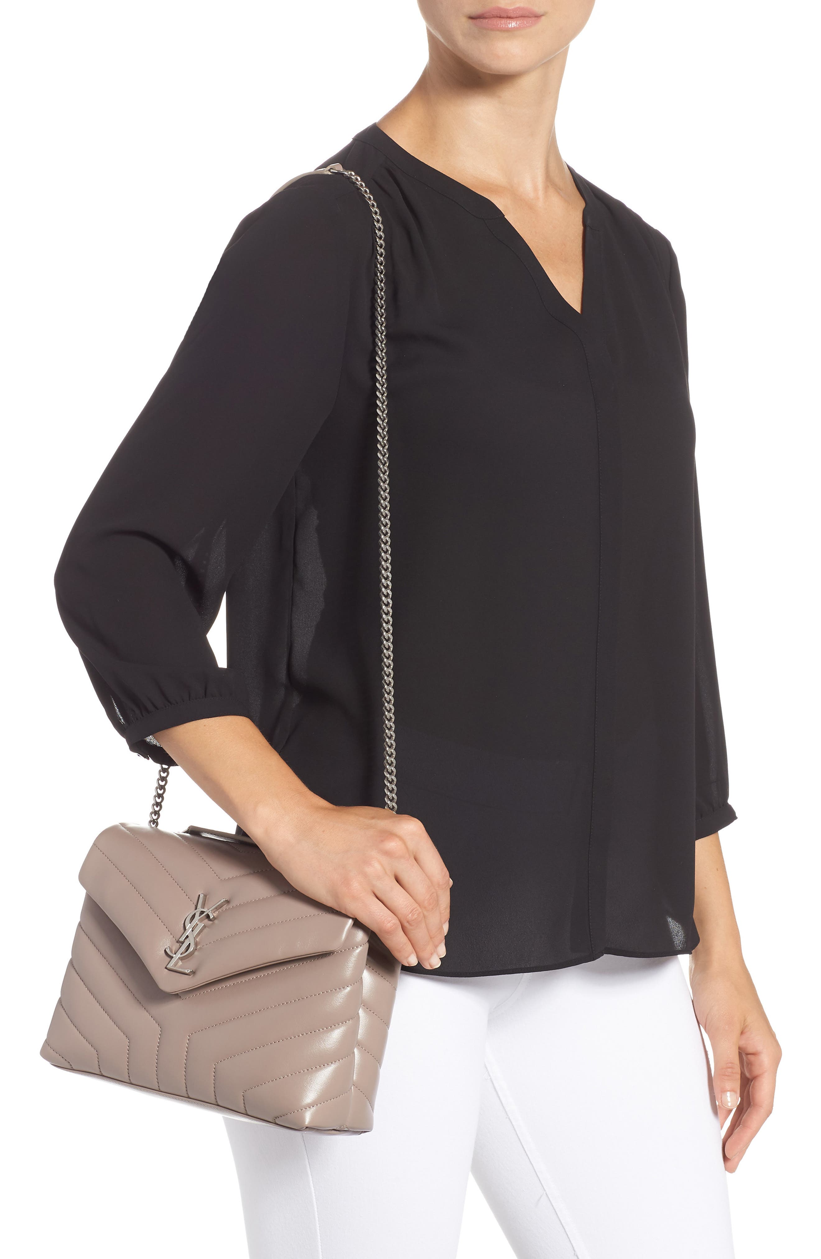 Small Loulou Matelassé Leather Shoulder Bag,                             Alternate thumbnail 2, color,                             TAUPE SABLE