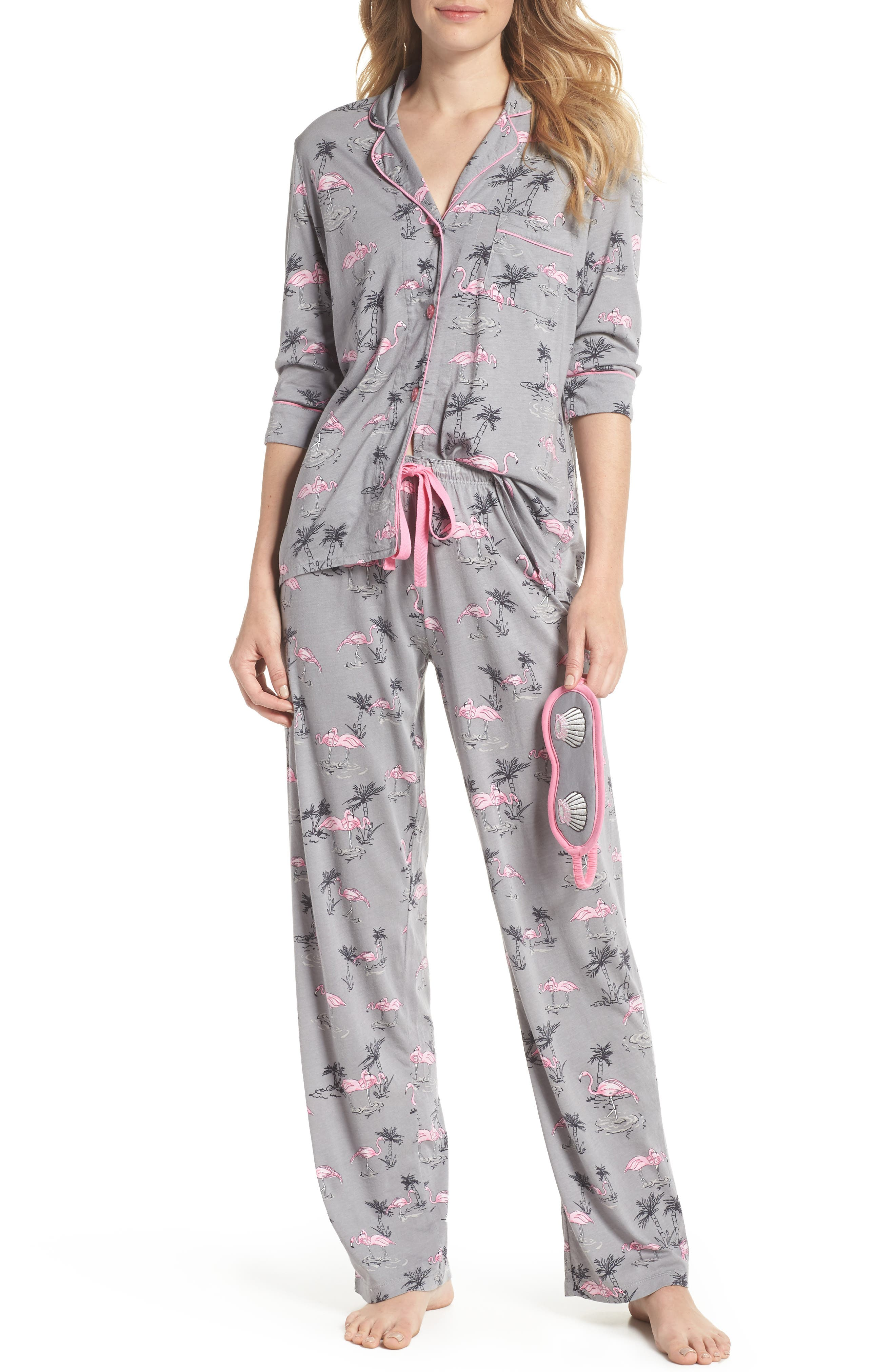 Print Pajamas & Eye Mask,                         Main,                         color, 024