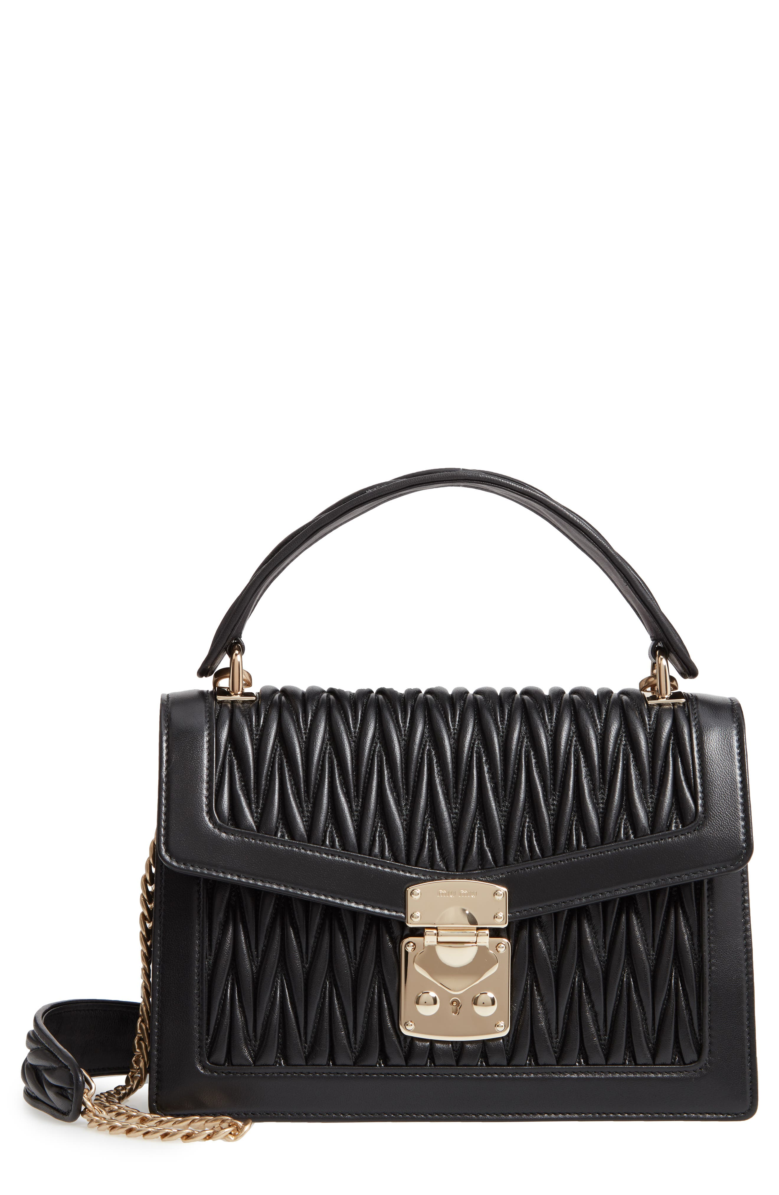 Confidential Matelassé Quilted Lambskin Leather Top Handle Bag, Main, color, NERO