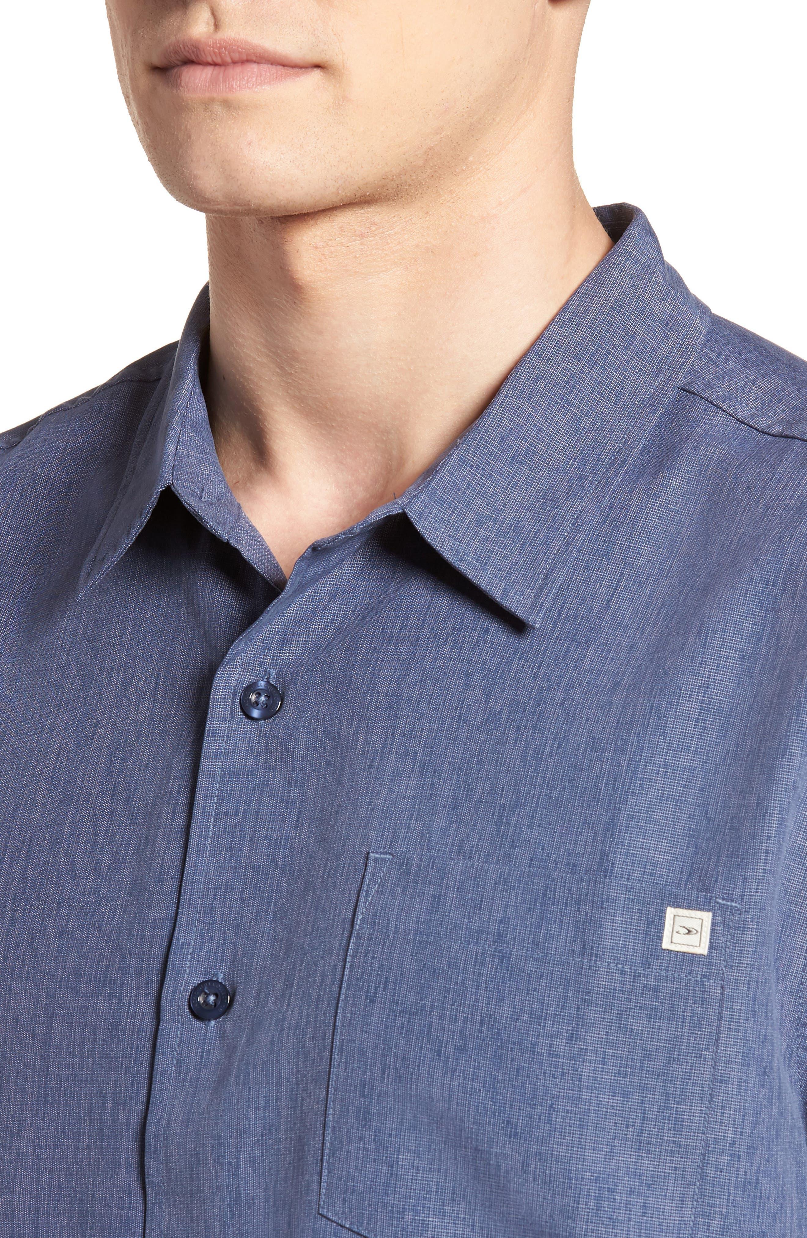 Liberty Regular Fit Short Sleeve Sport Shirt,                             Alternate thumbnail 4, color,                             NAVY