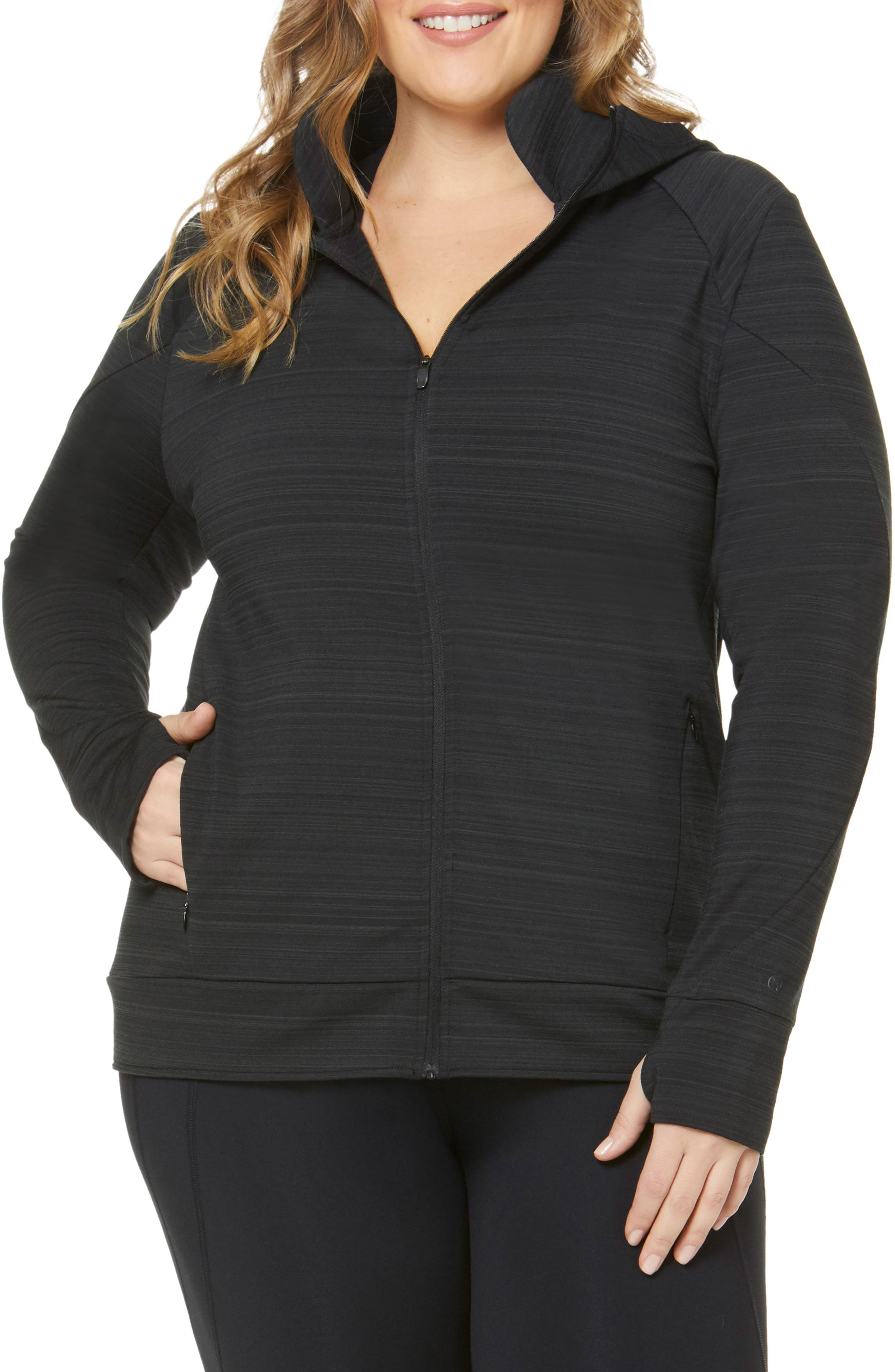Plus Size Shape Activewear Elements Hoodie, Black