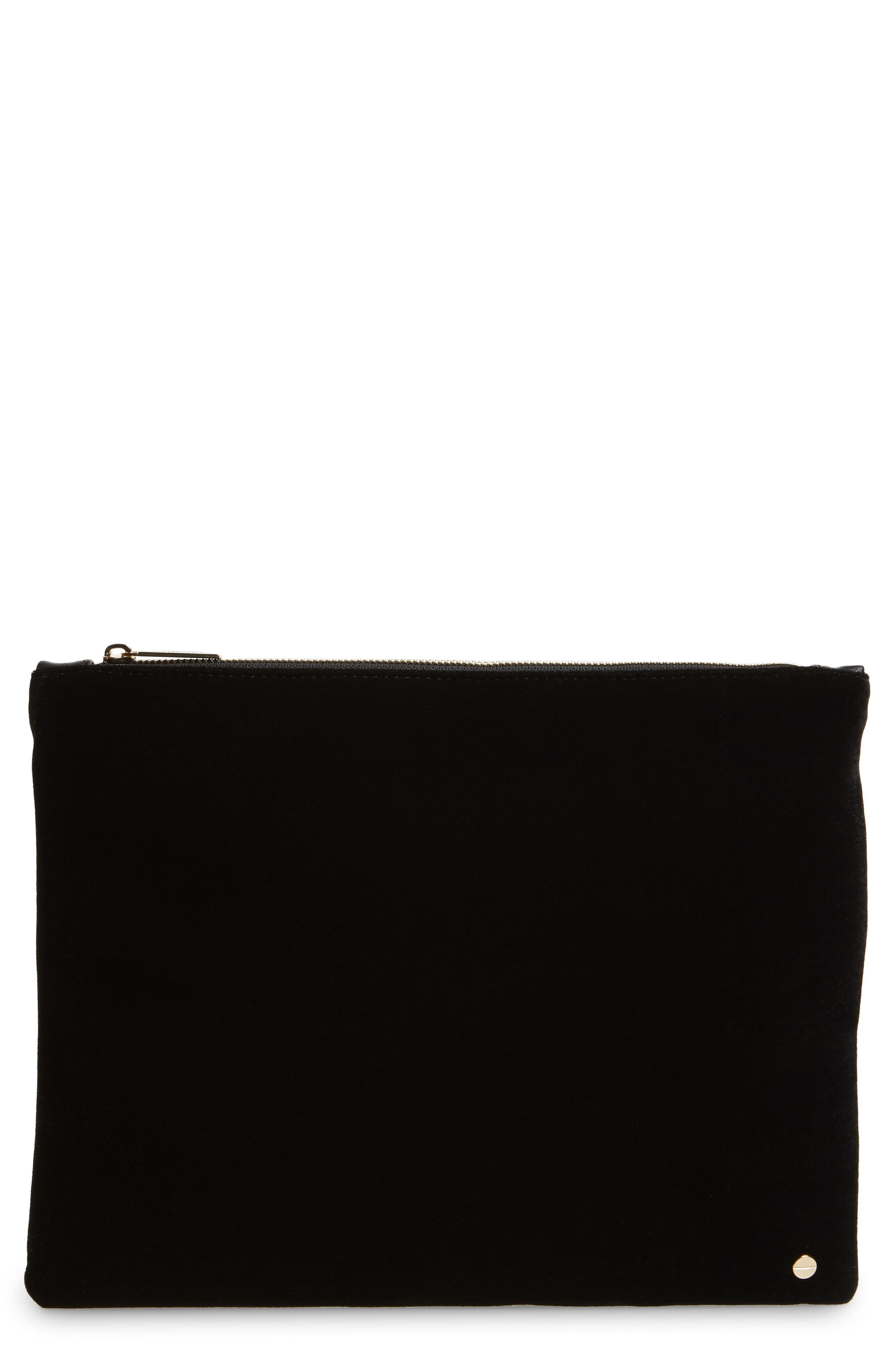 Mali + Lili Iona Velvet & Vegan Leather Clutch,                             Main thumbnail 1, color,                             BLACK