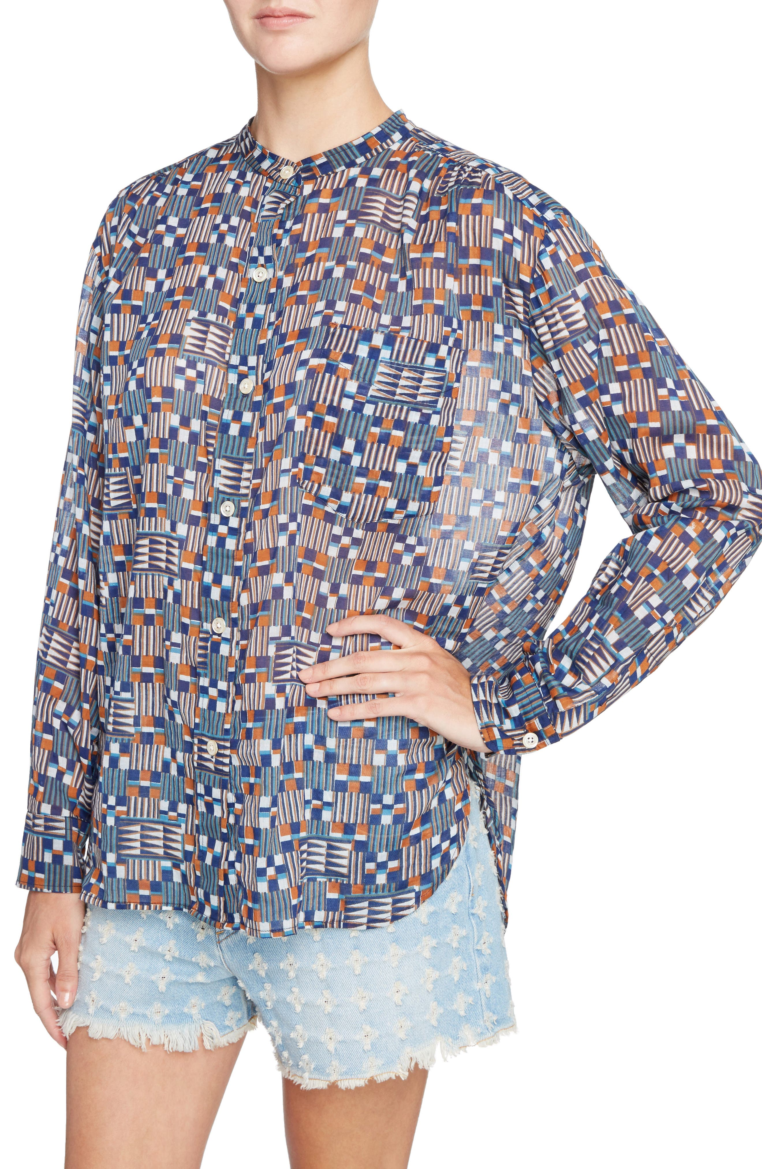 Isabel Marant Étoile Nahla Print Cotton Shirt,                             Alternate thumbnail 4, color,                             400