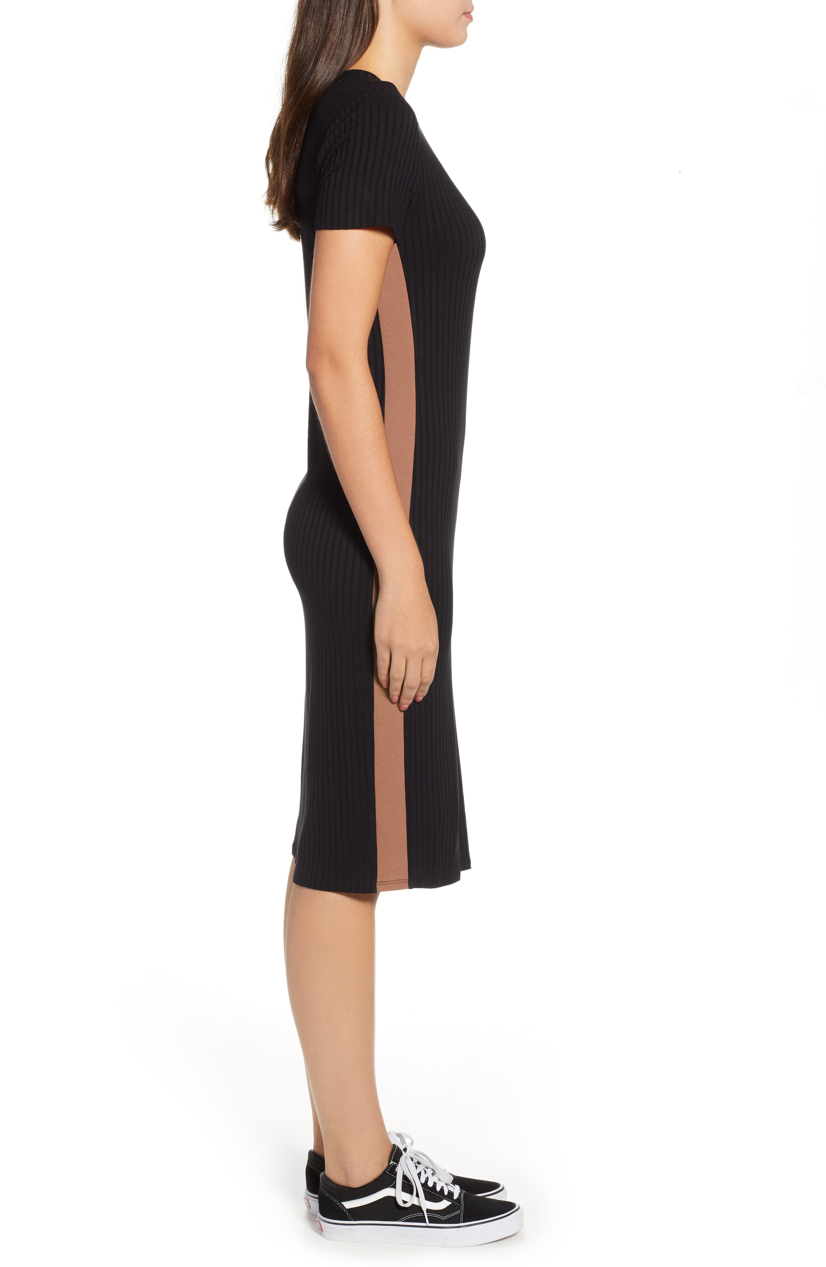 Side Stripe Rib Knit Dress,                             Alternate thumbnail 3, color,                             001