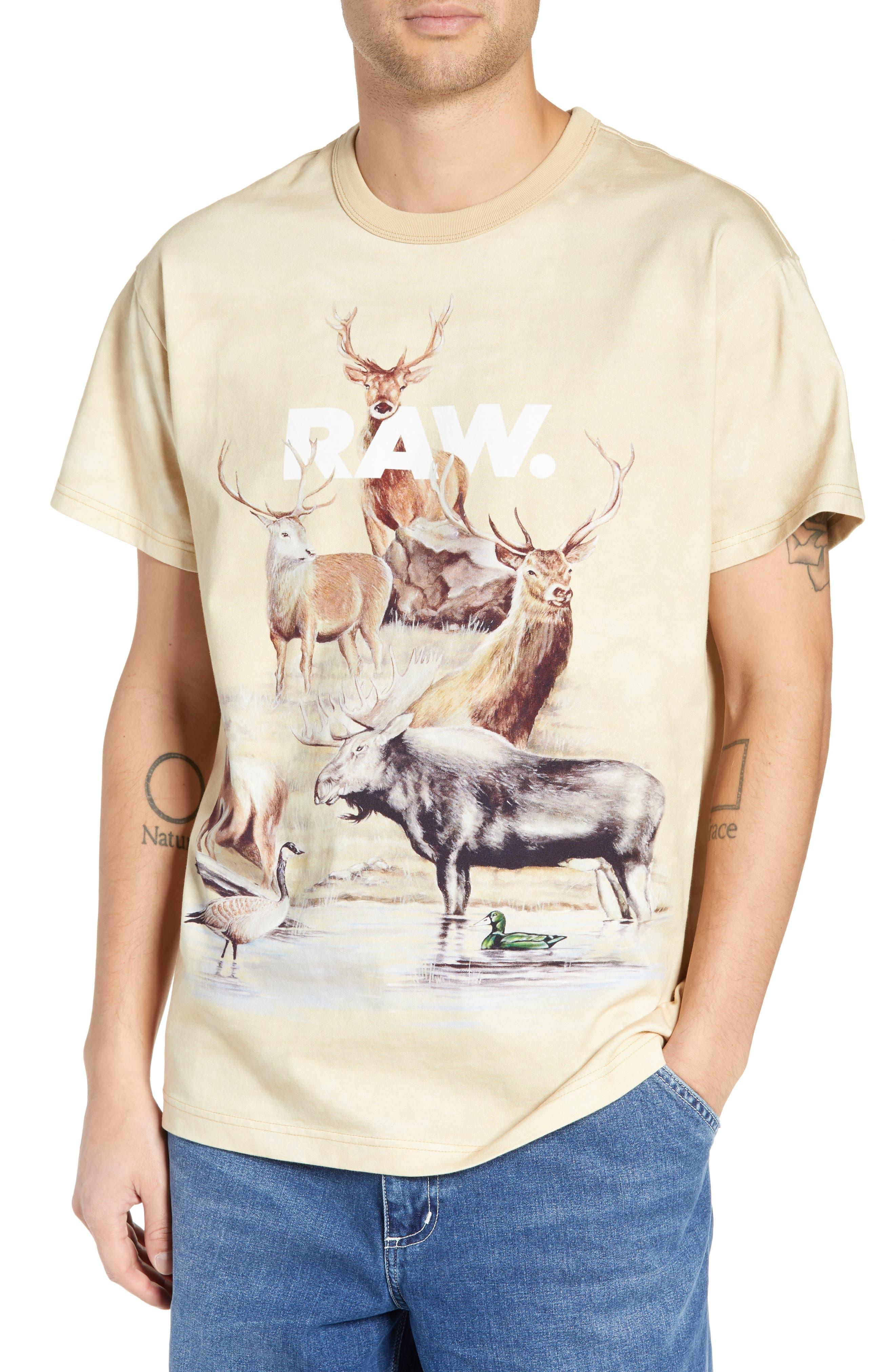 G-STAR RAW G-Star Cyrer Animal Loose T-Shirt in Sand