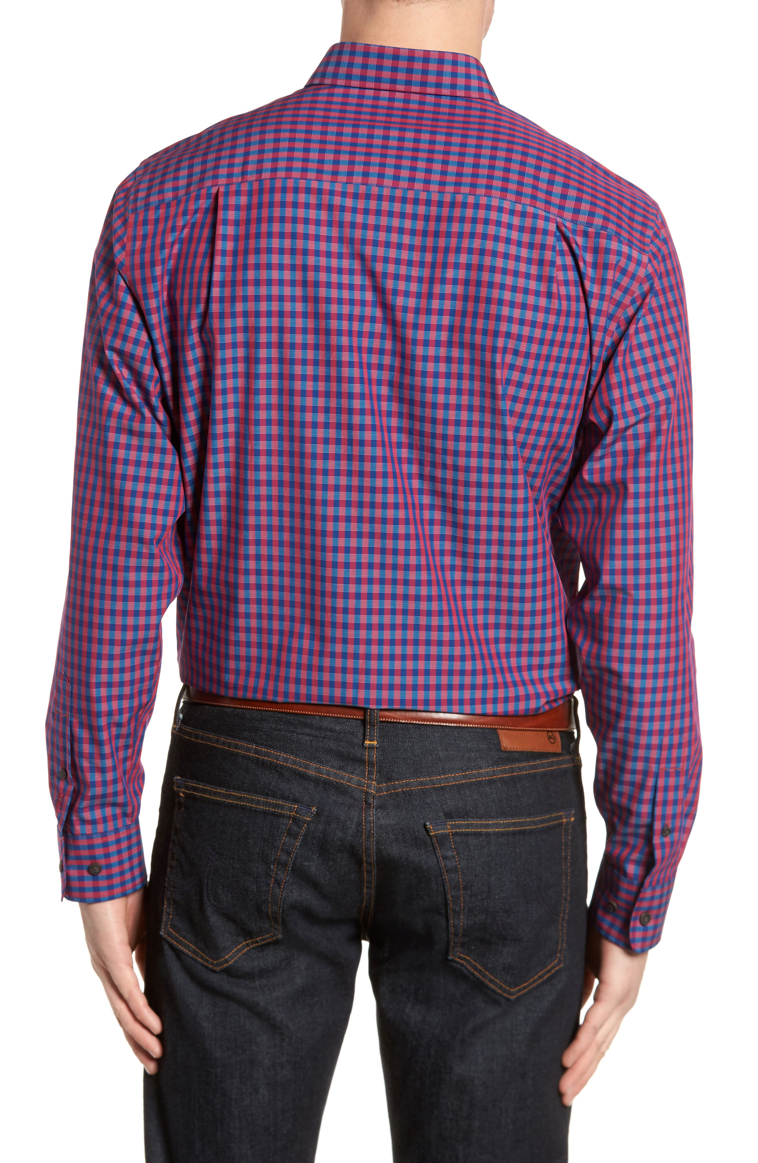 Myles Classic Fit Non-Iron Gingham Sport Shirt,                             Alternate thumbnail 4, color,