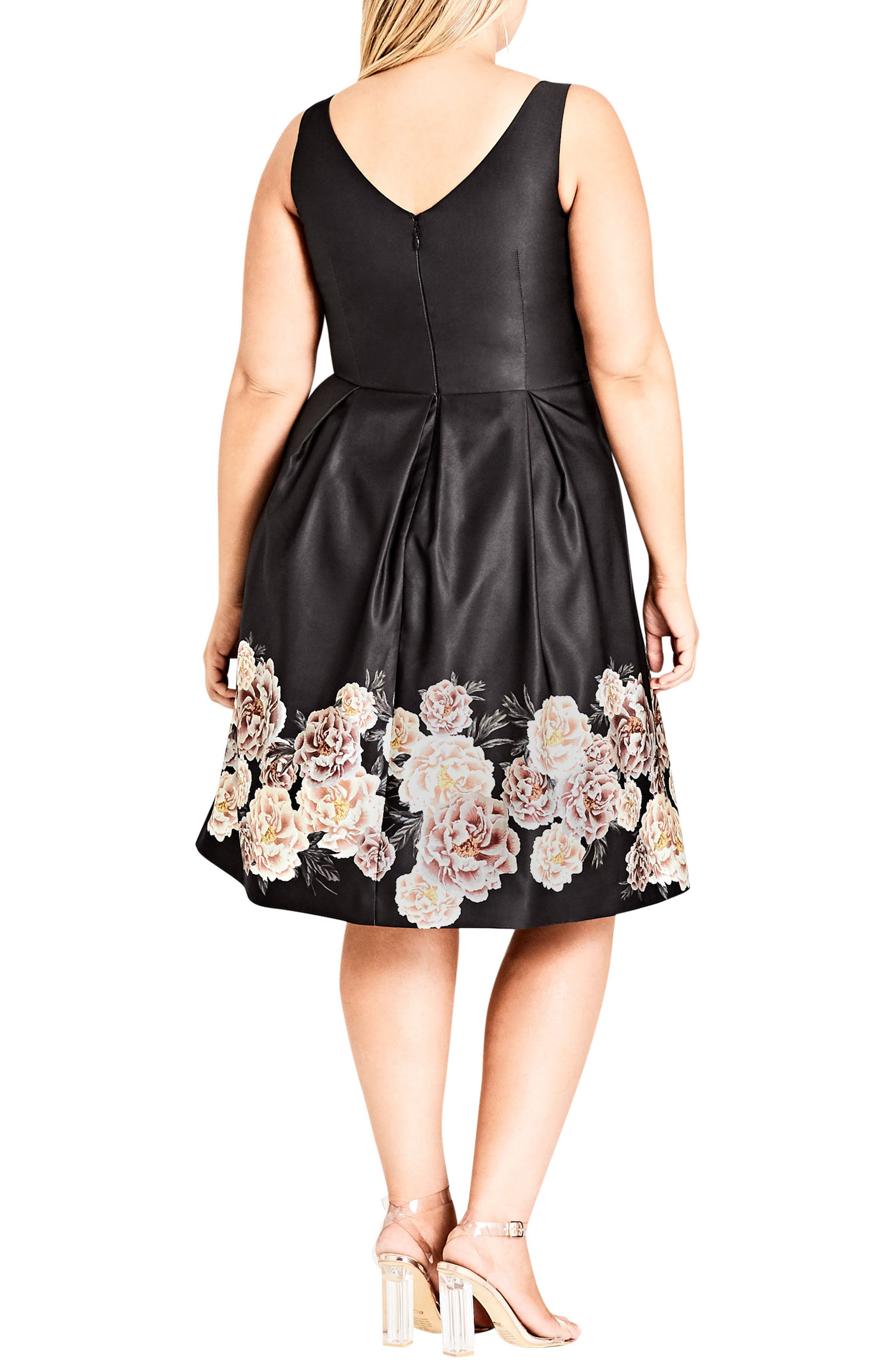 Magical Floral Satin Fit & Flare Dress,                             Alternate thumbnail 2, color,                             BORDER PRINT