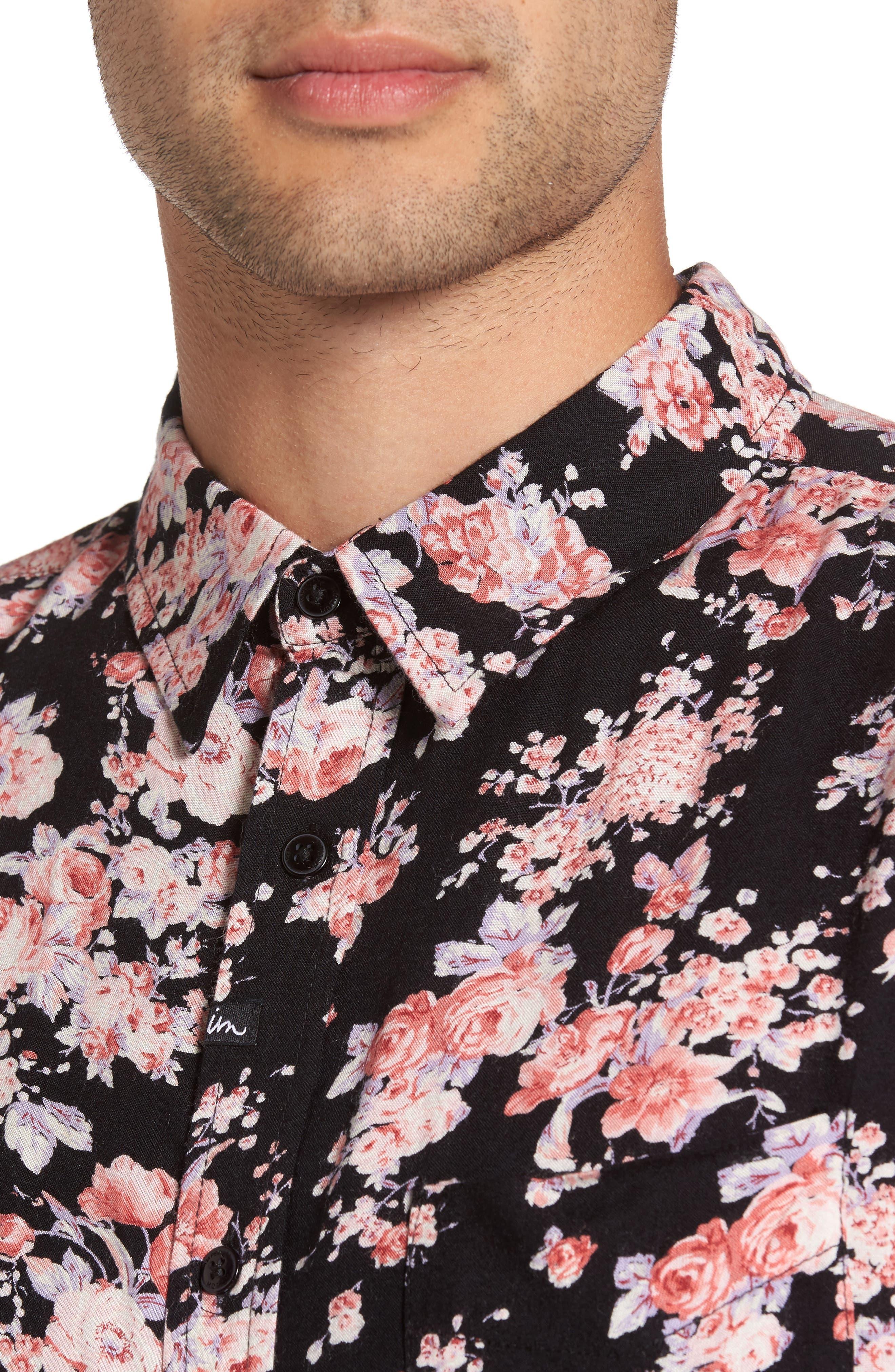 Flora Trim Fit Woven Shirt,                             Alternate thumbnail 4, color,                             001