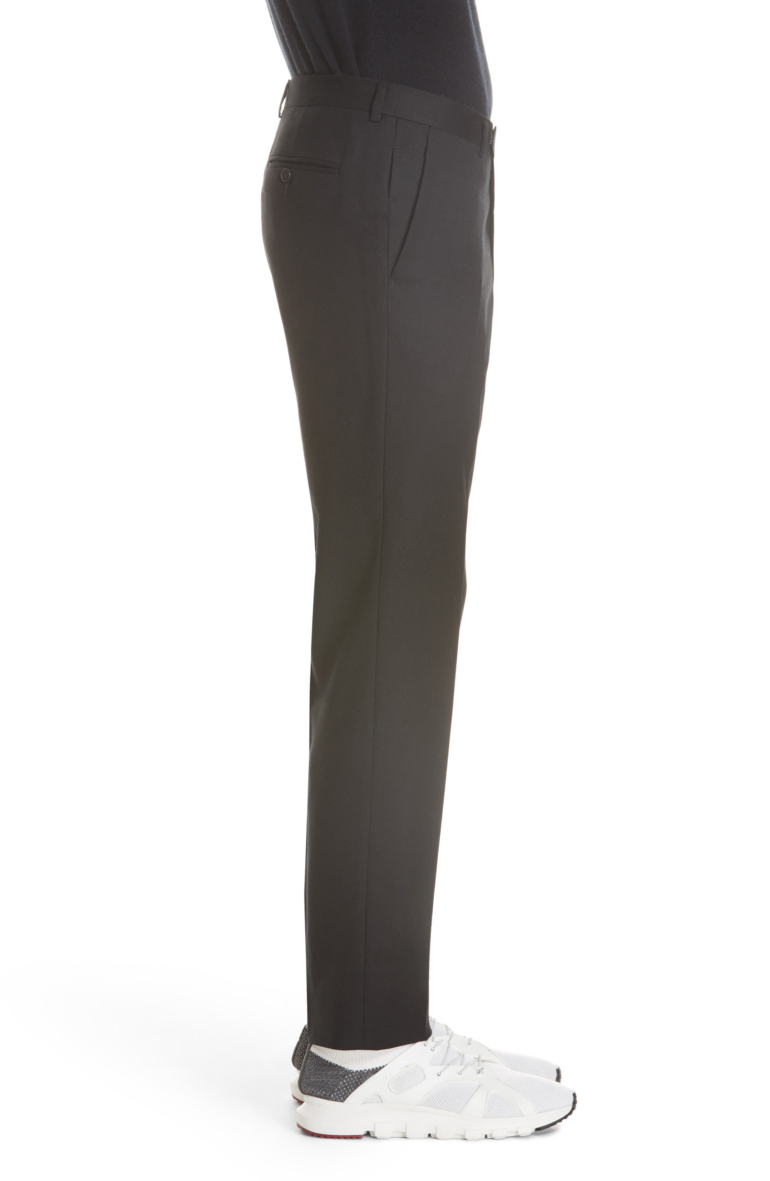 Flat Front Solid Stretch Wool Trousers,                             Alternate thumbnail 3, color,                             BLACK