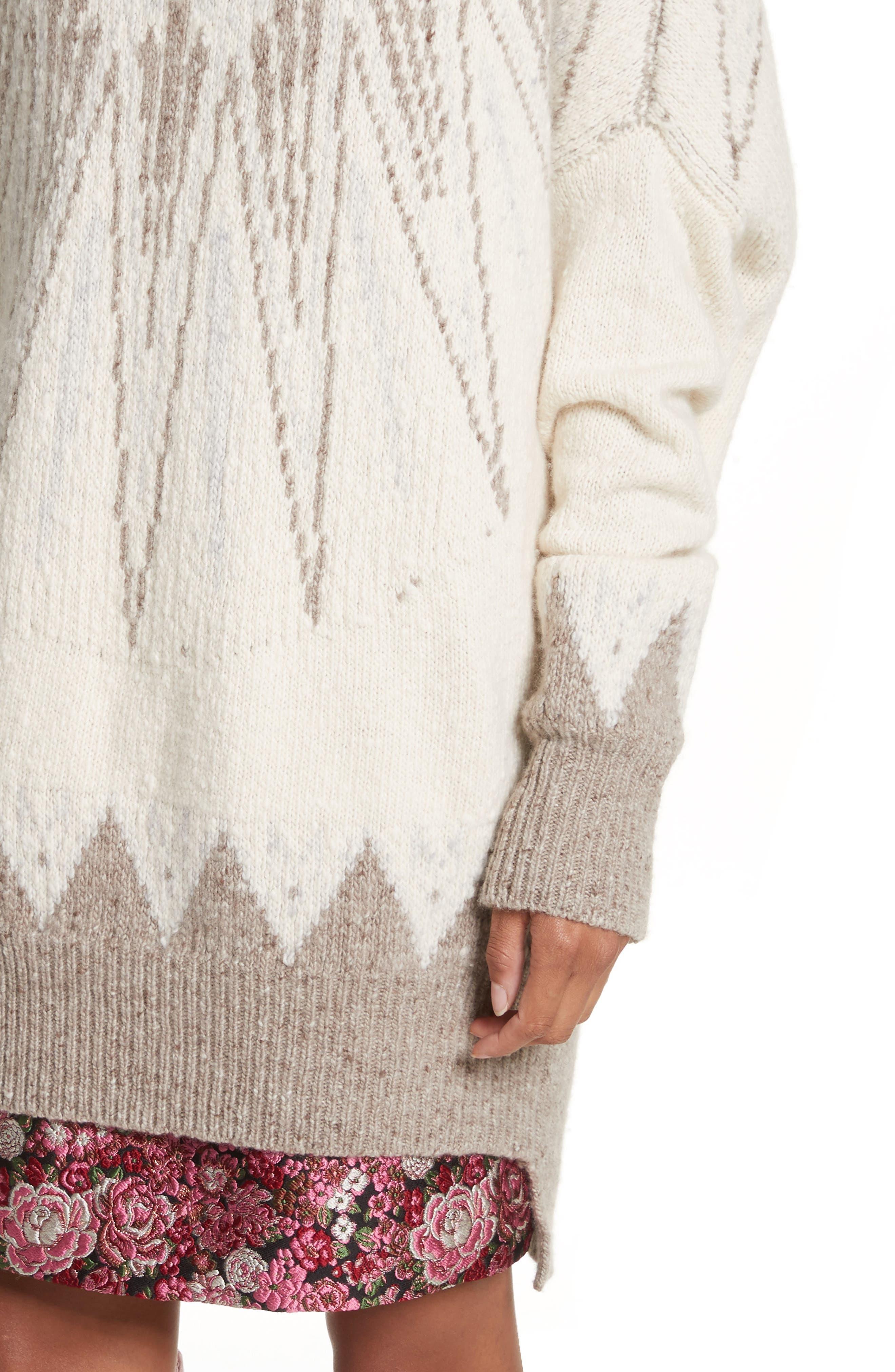 Marled Merino Wool & Cashmere Fair Isle Sweater,                             Alternate thumbnail 4, color,                             900