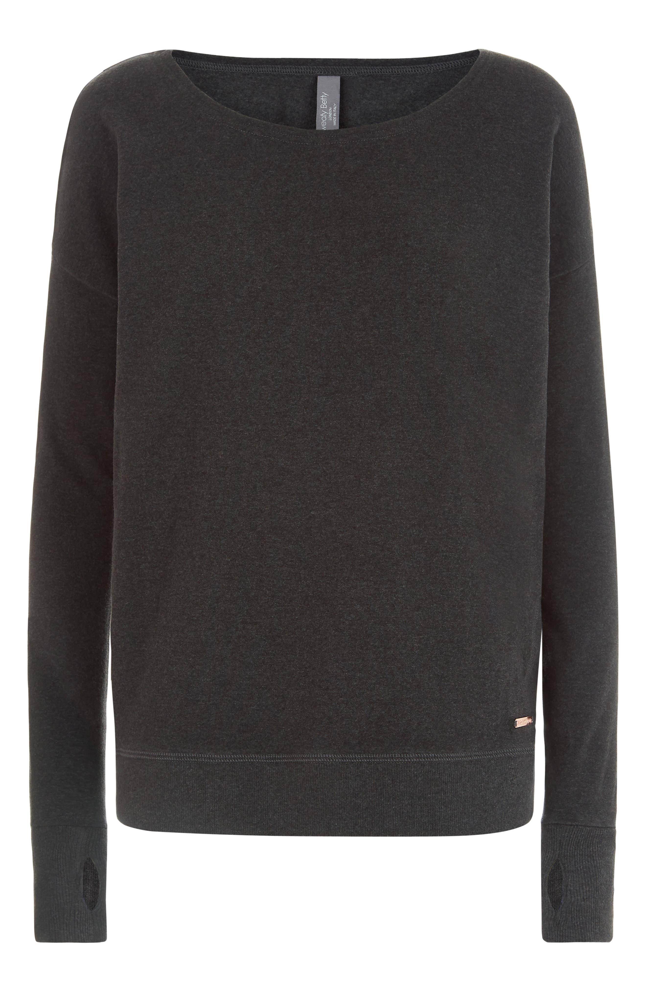 Luxe Simhasana Sweatshirt,                             Alternate thumbnail 5, color,                             BLACK MARL