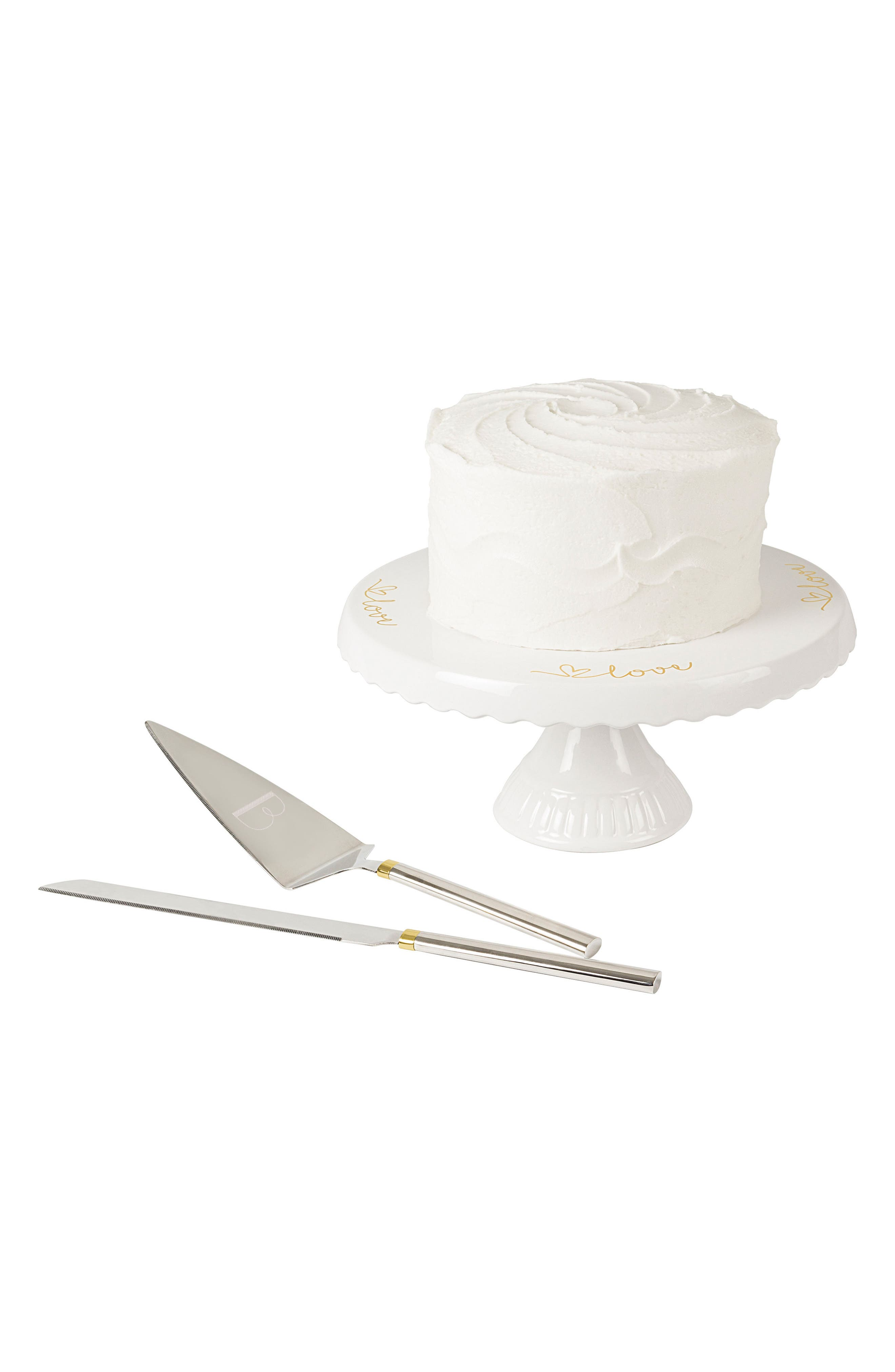 Love Monogram Cake Stand & Server Set,                             Main thumbnail 3, color,