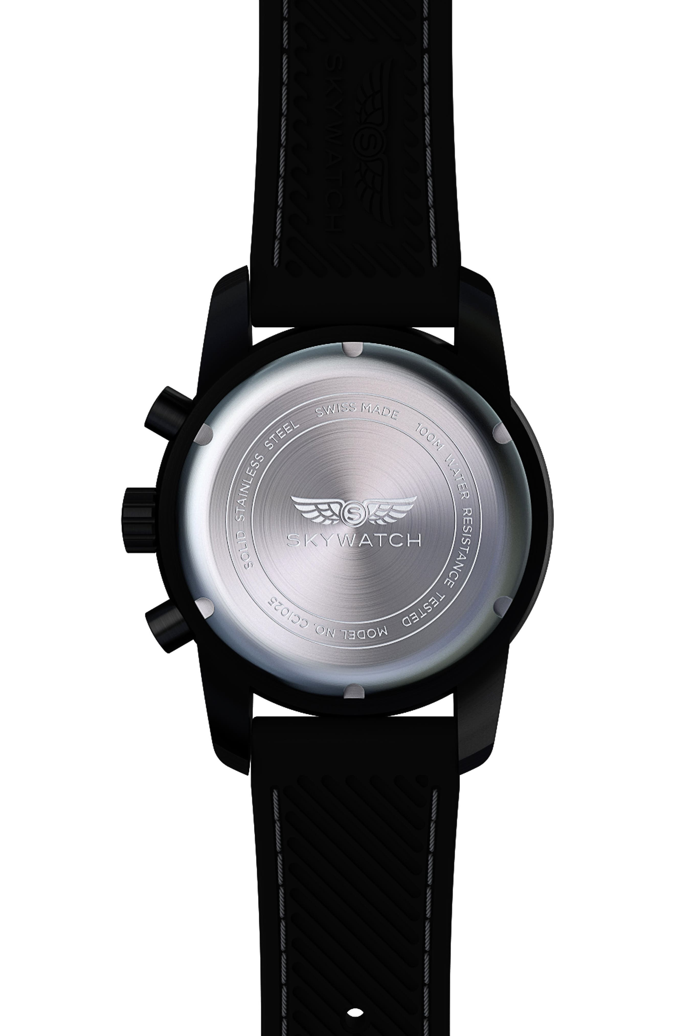 Classic Chronograph Silicone Strap Watch, 44mm,                             Alternate thumbnail 2, color,                             BLACK/ BLACK