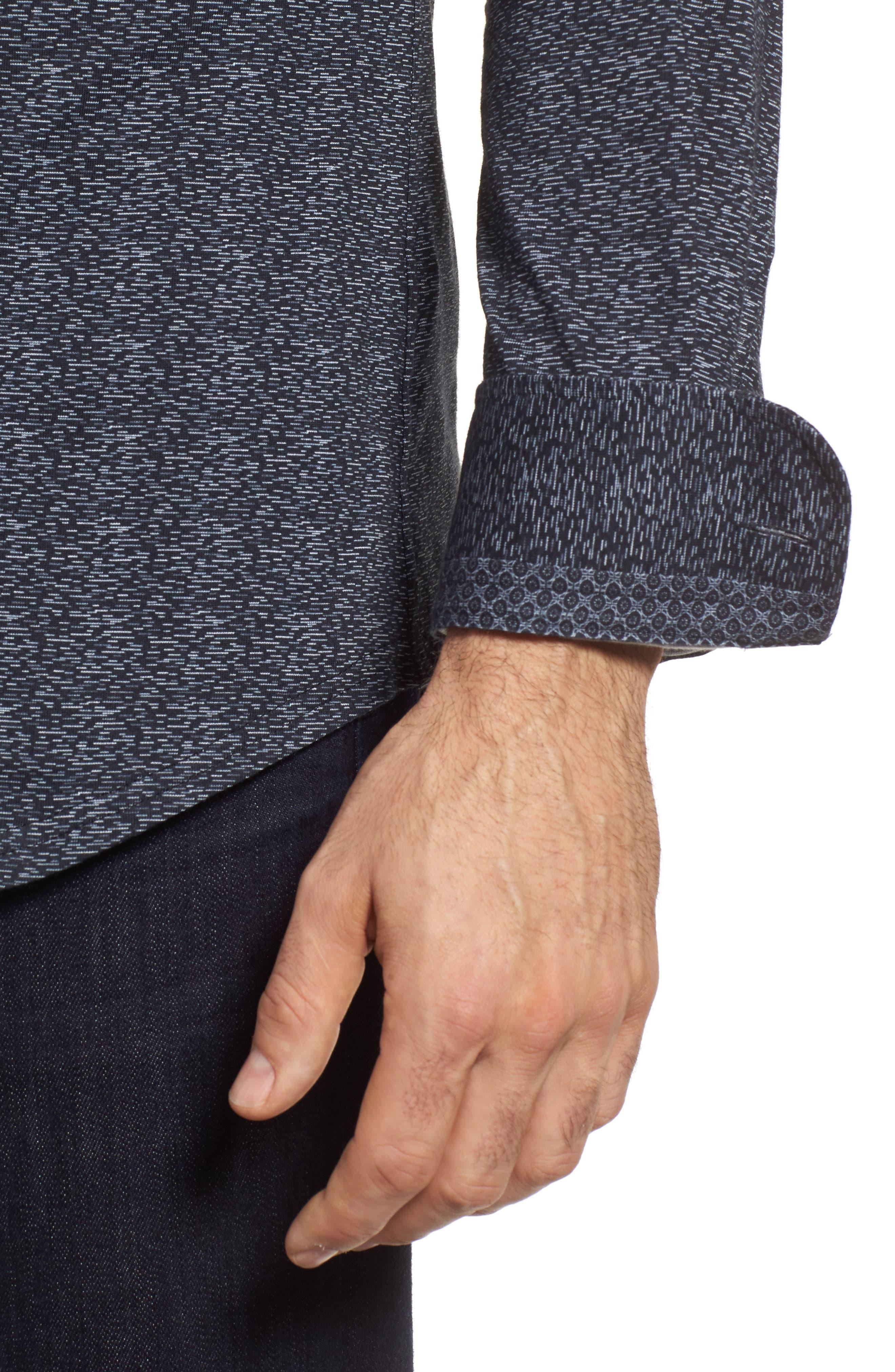 Mélange Knit Sport Shirt,                             Alternate thumbnail 4, color,                             001