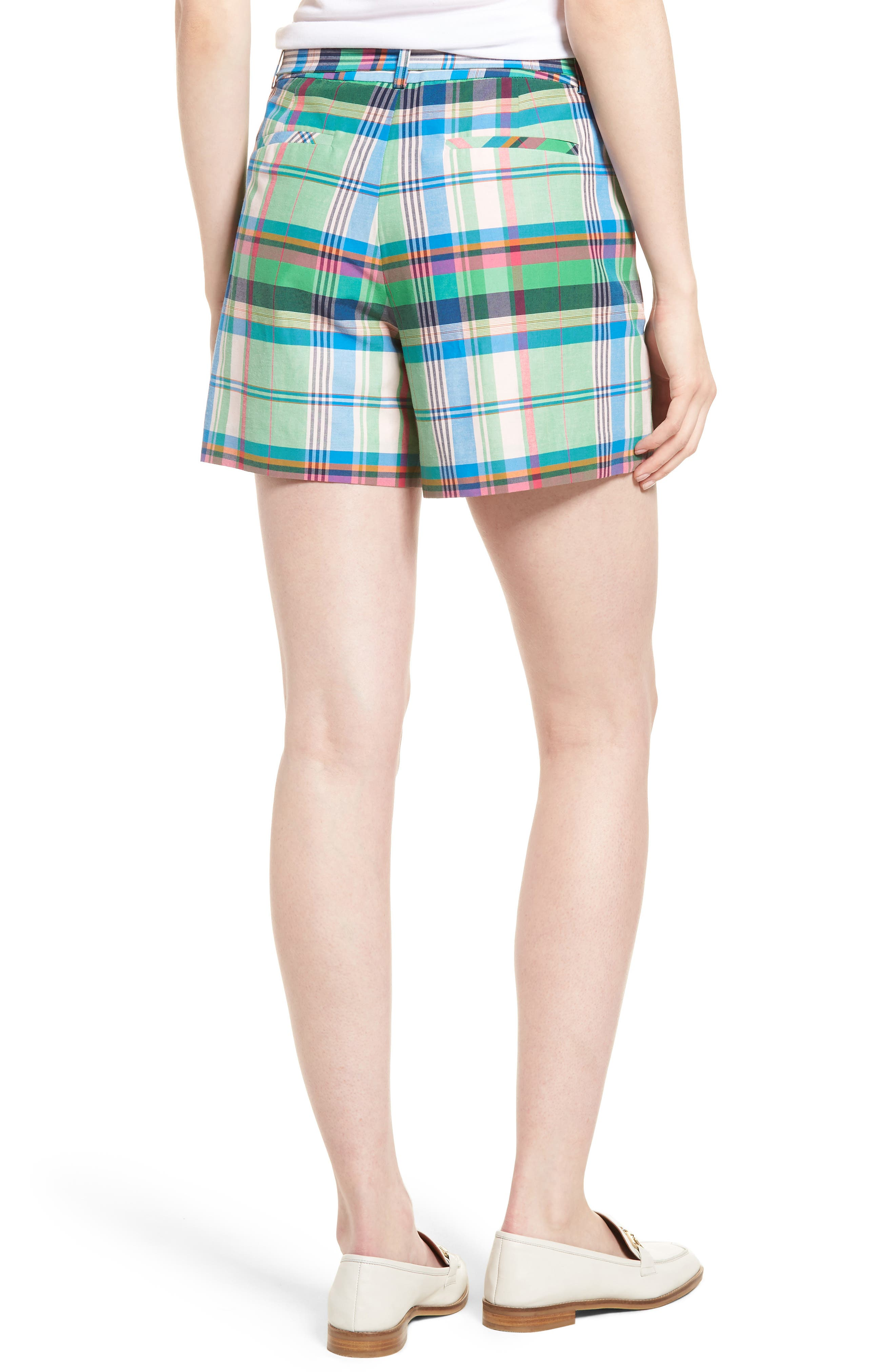 Pleated Plaid Shorts,                             Alternate thumbnail 2, color,                             330