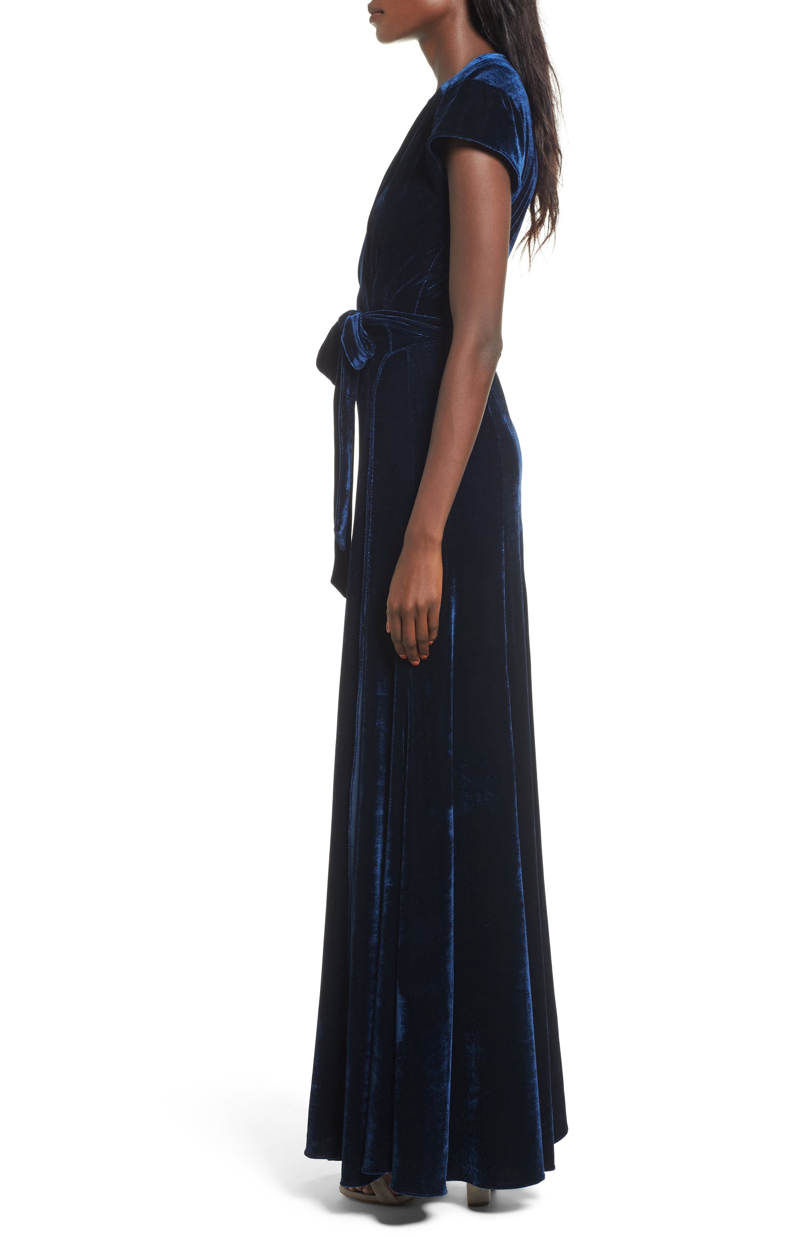 Sid Velvet Wrap Maxi Dress,                             Alternate thumbnail 3, color,                             400