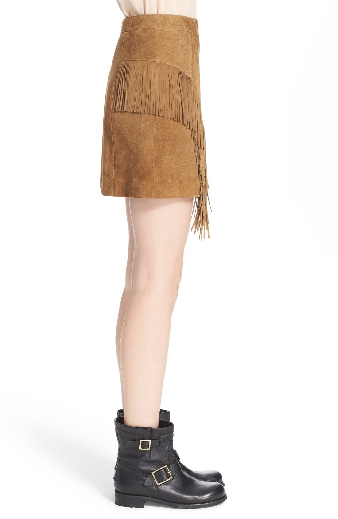 Suede Fringe Mini Skirt,                             Alternate thumbnail 5, color,                             244