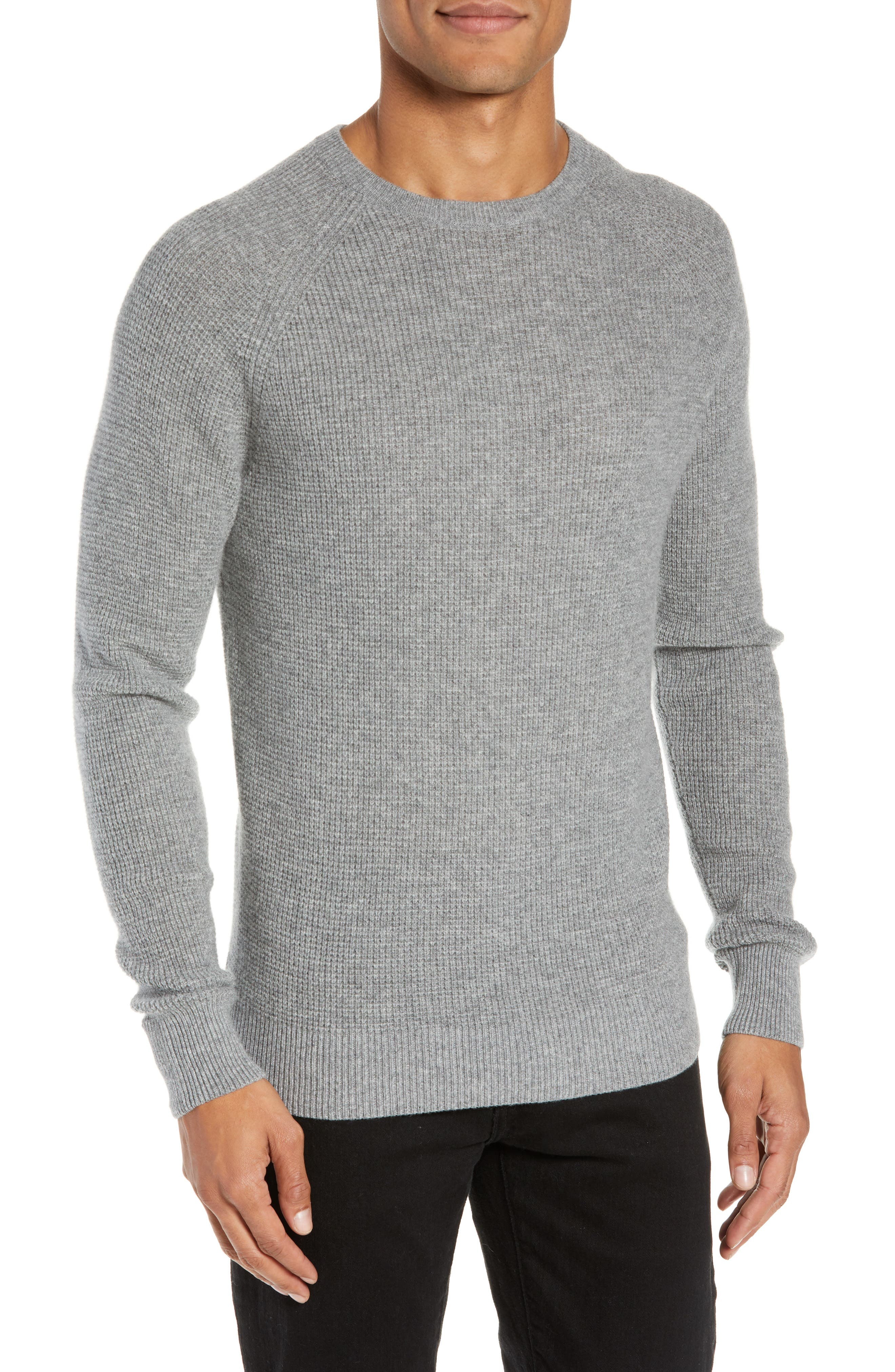 Cashmere Waffle Knit Pullover,                             Main thumbnail 1, color,                             GREY FILIGREE