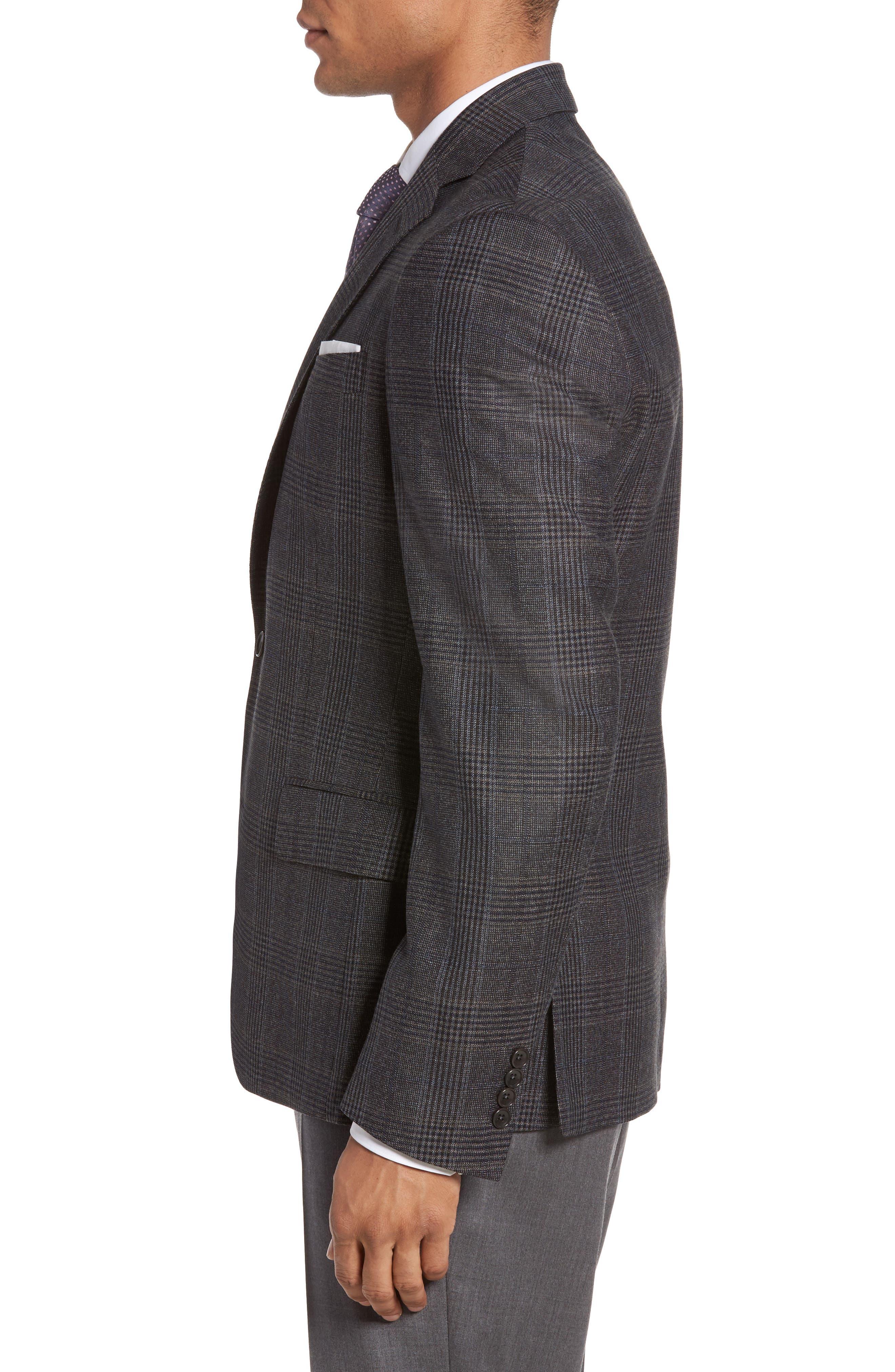 Classic Fit Plaid Wool Sport Coat,                             Alternate thumbnail 3, color,                             099