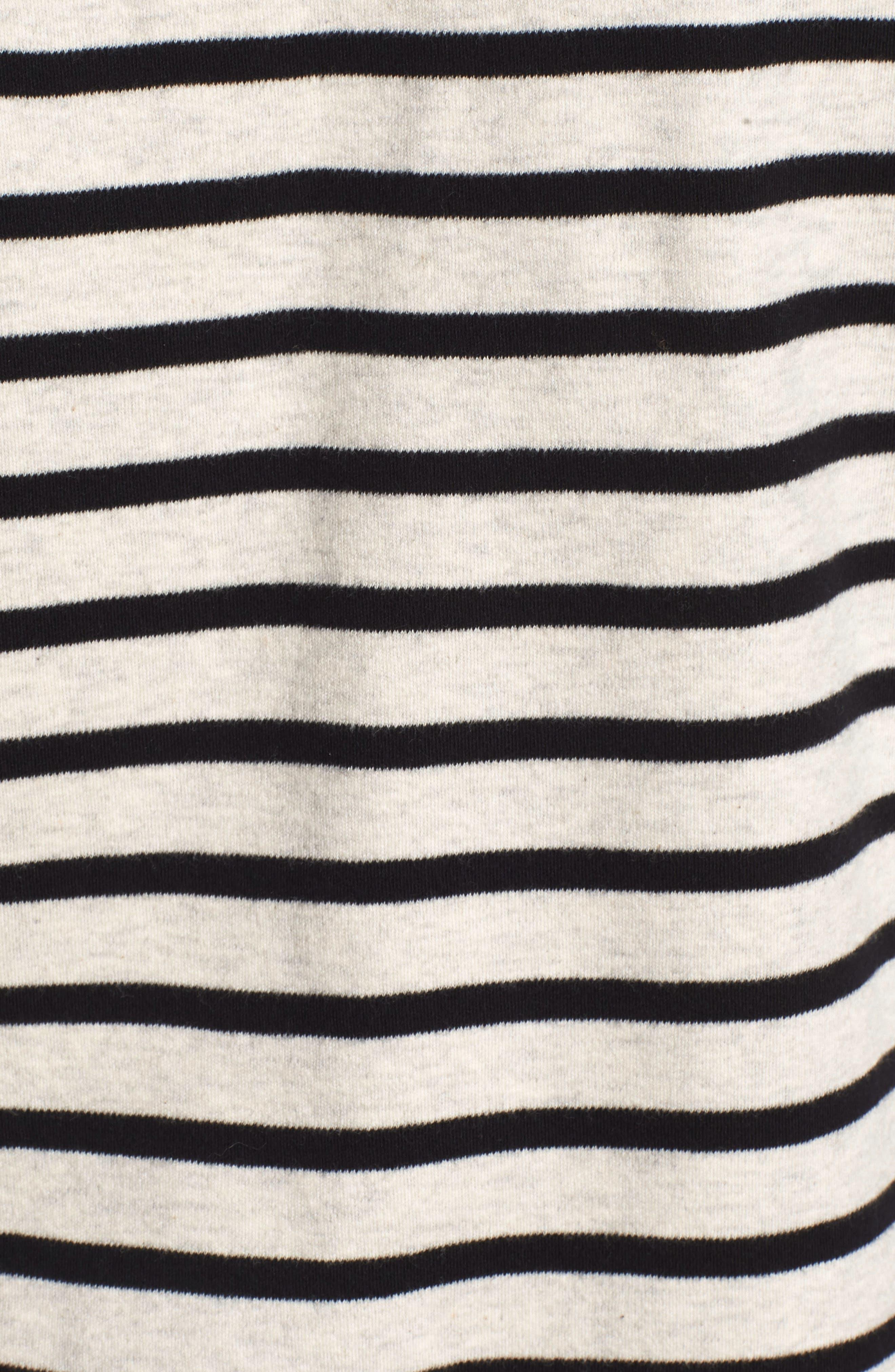 Breton Stripe Long Sleeve Tee,                             Alternate thumbnail 5, color,                             BLACK/ WHITE STRIPE