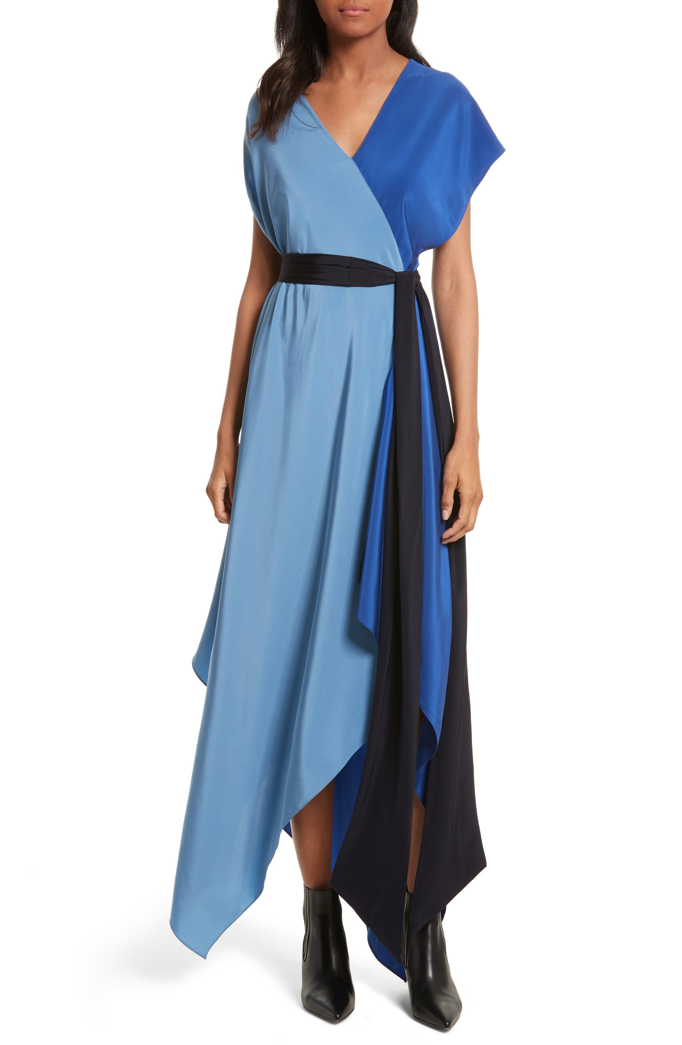 Handkerchief Hem Silk Scarf Dress,                             Main thumbnail 1, color,                             400